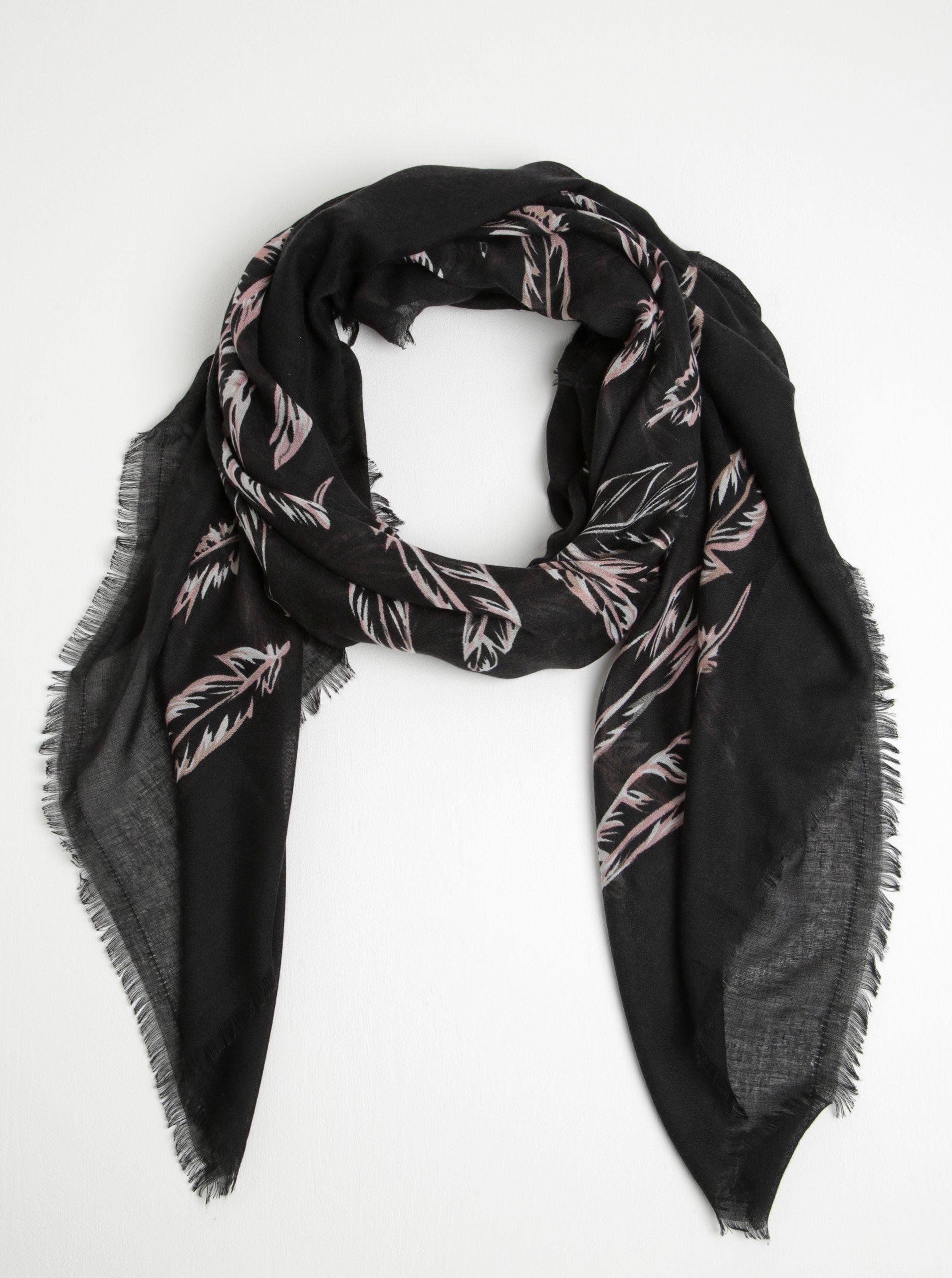 Černý šátek s motivem pírek Pieces Rosabella