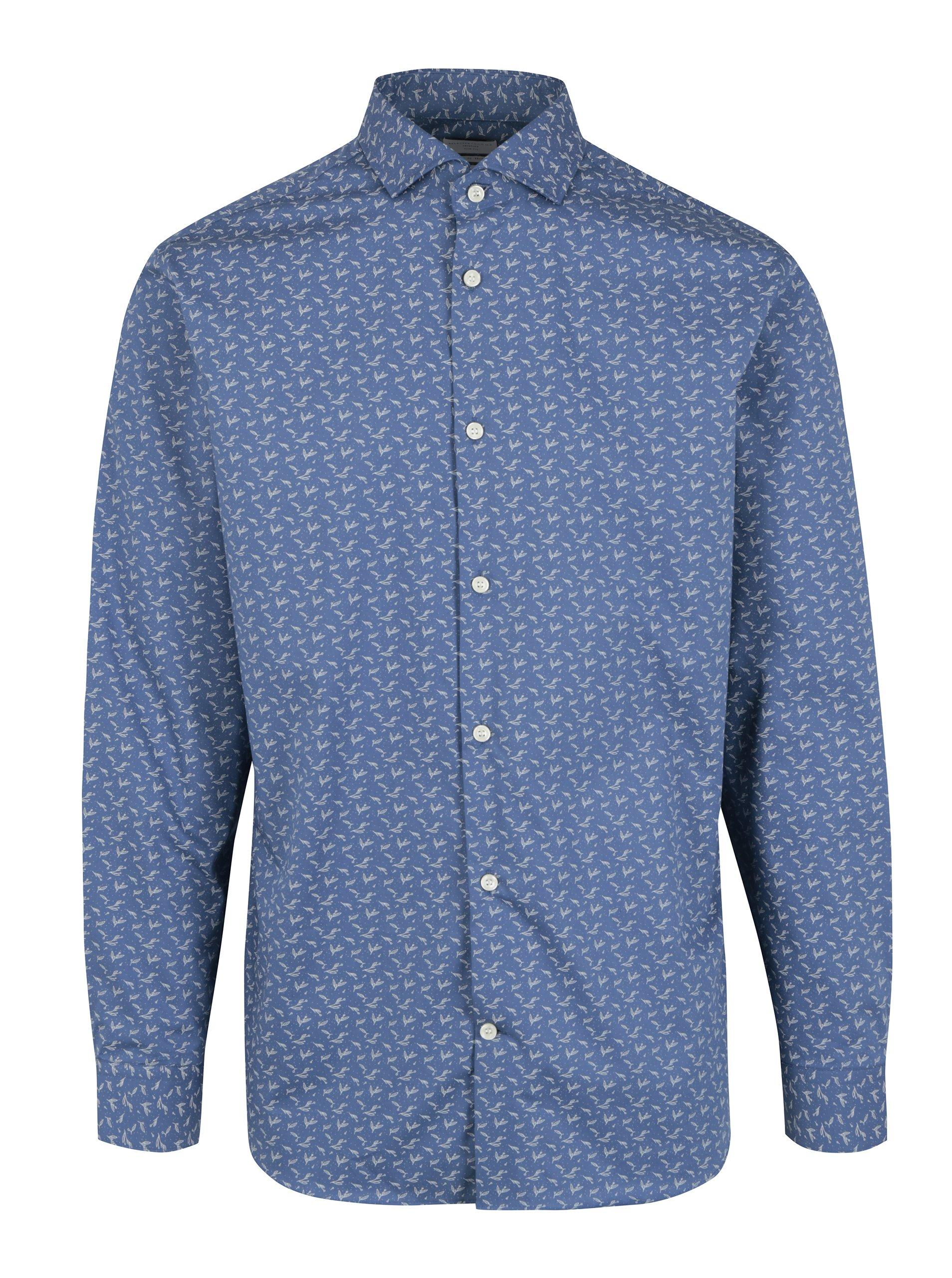 Modrá vzorovaná slim fit košile Selected Homme Done Sel