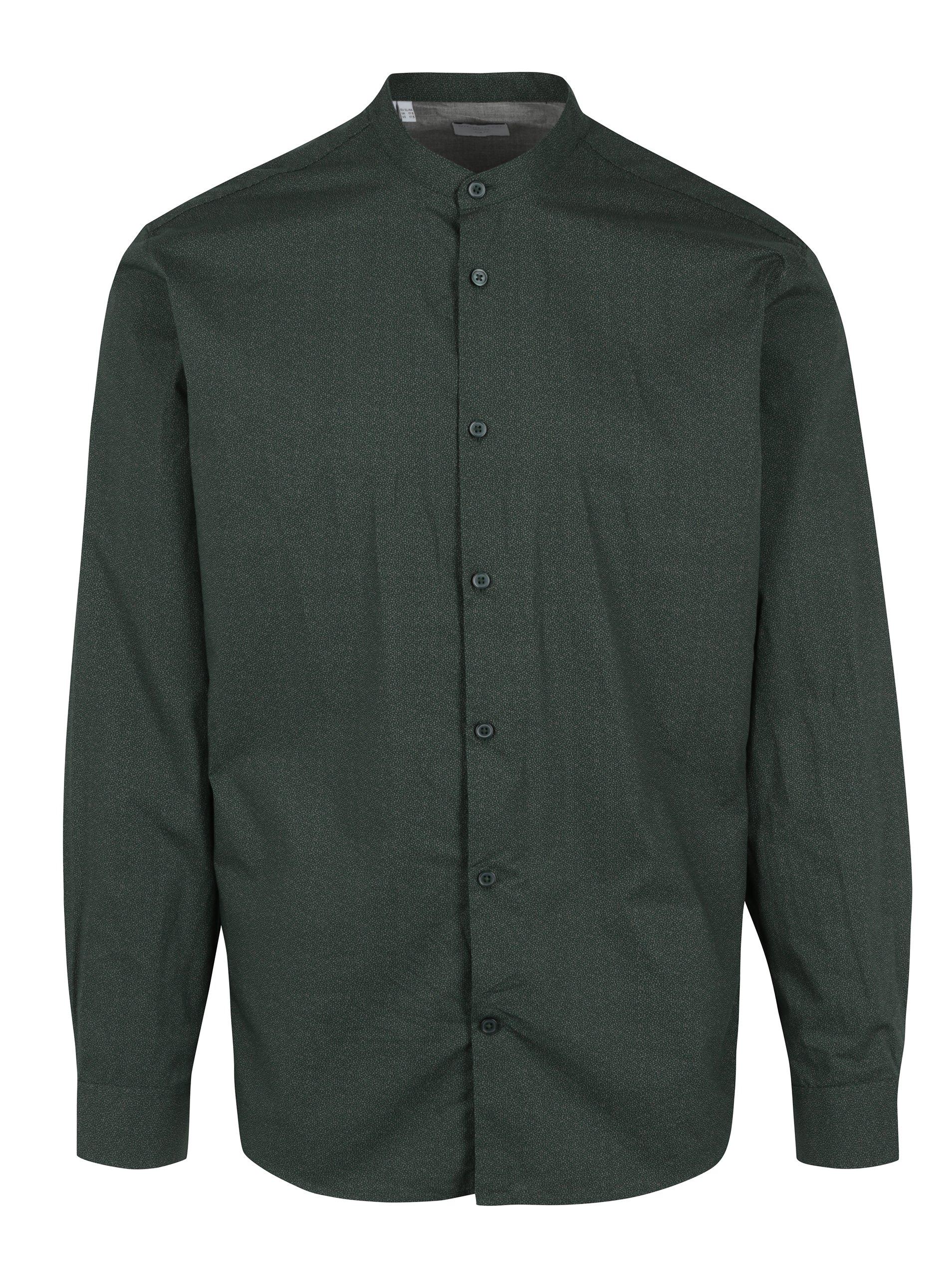 Zelená slim fit košile bez límečku Selected Homme Done Cole