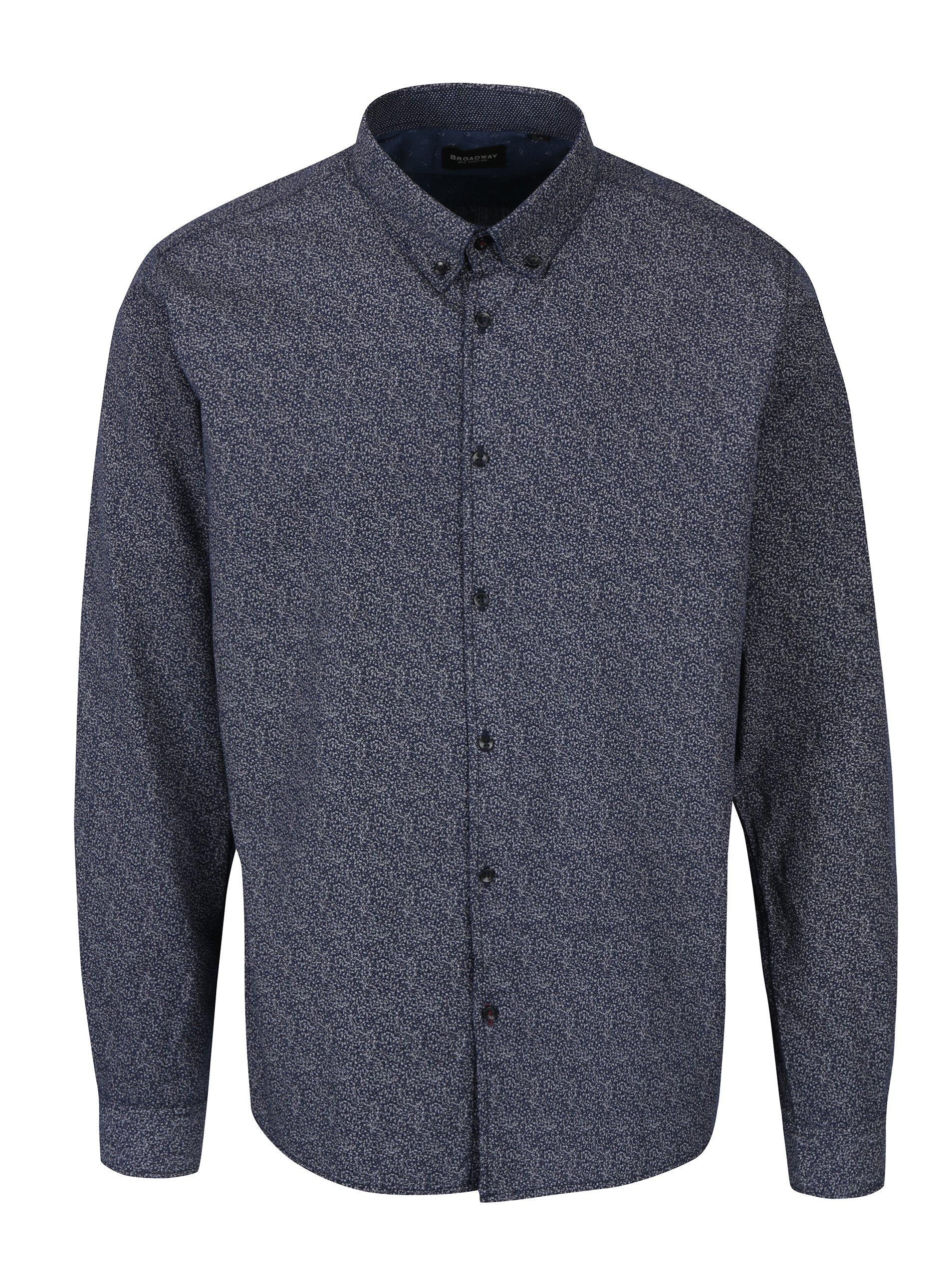 Tmavě modrá pánská vzorovaná košile Broadway Oriol