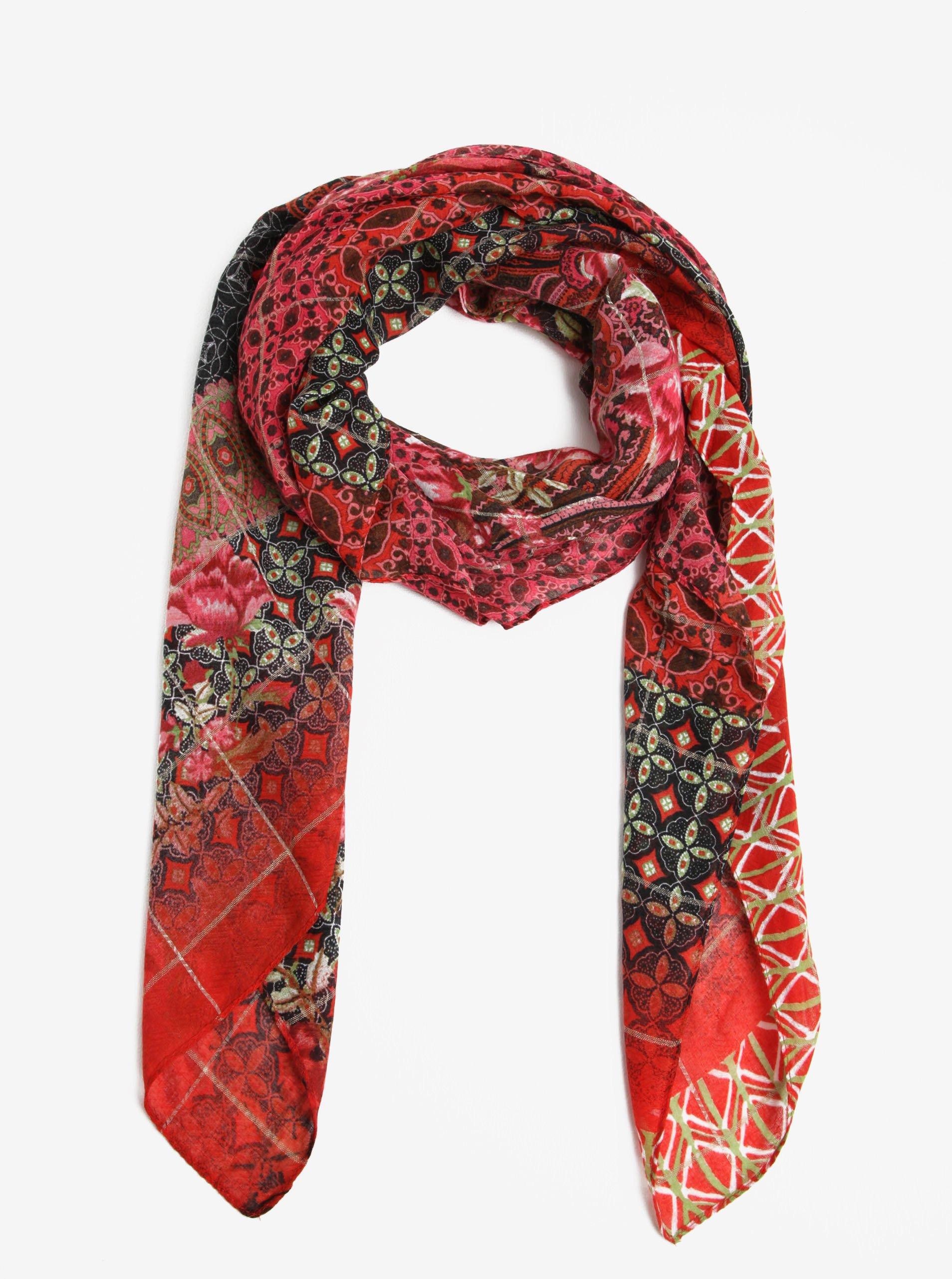 Červený vzorovaný šátek Desigual Rectangle Boho