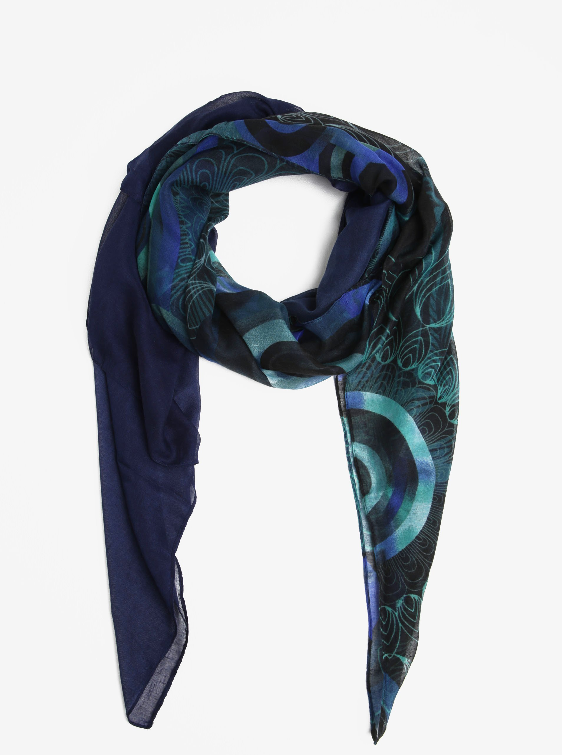 Modrý vzorovaný šátek Desigual Winter Floral Big