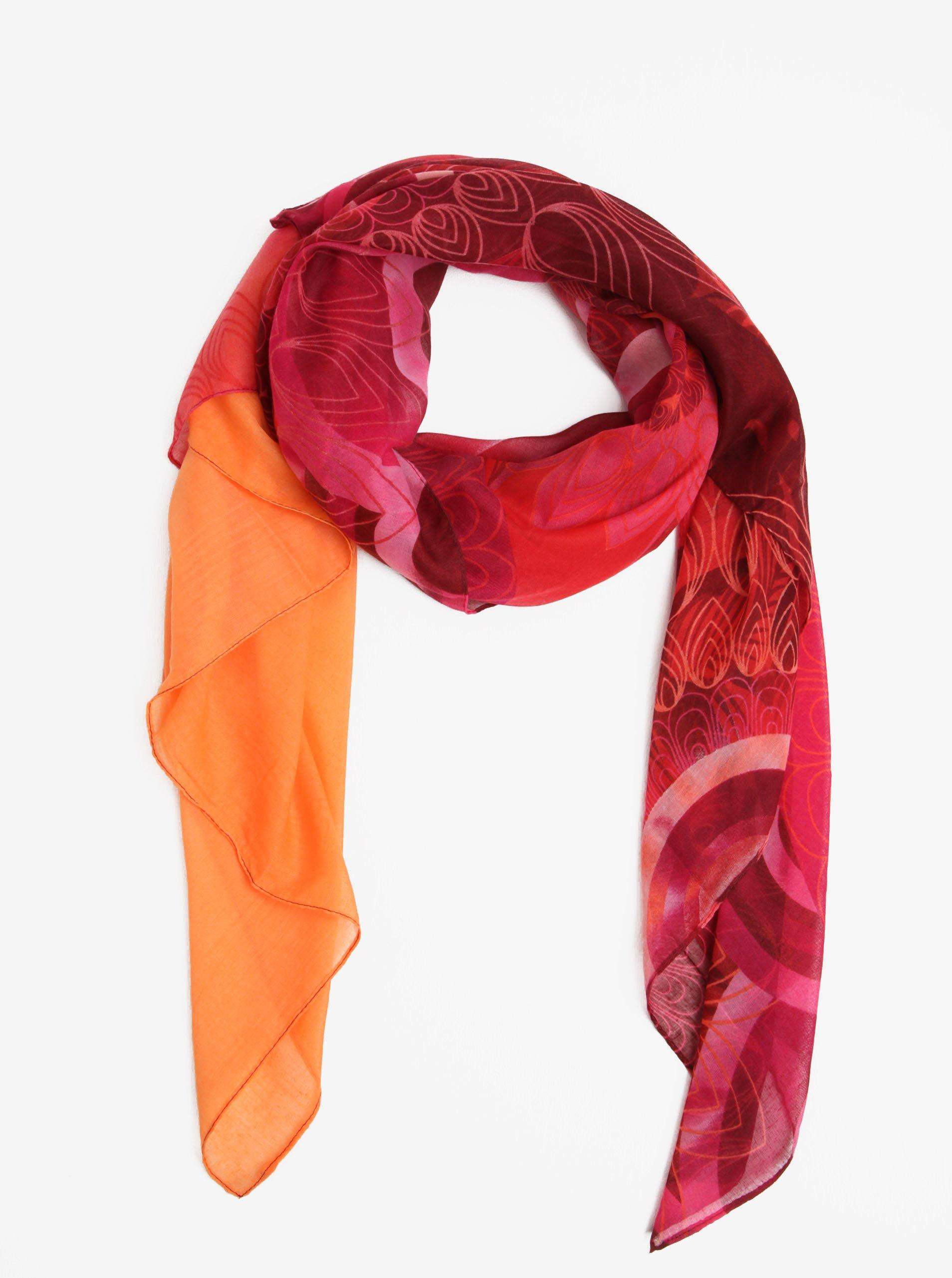 Červený vzorovaný šátek Desigual Enrien