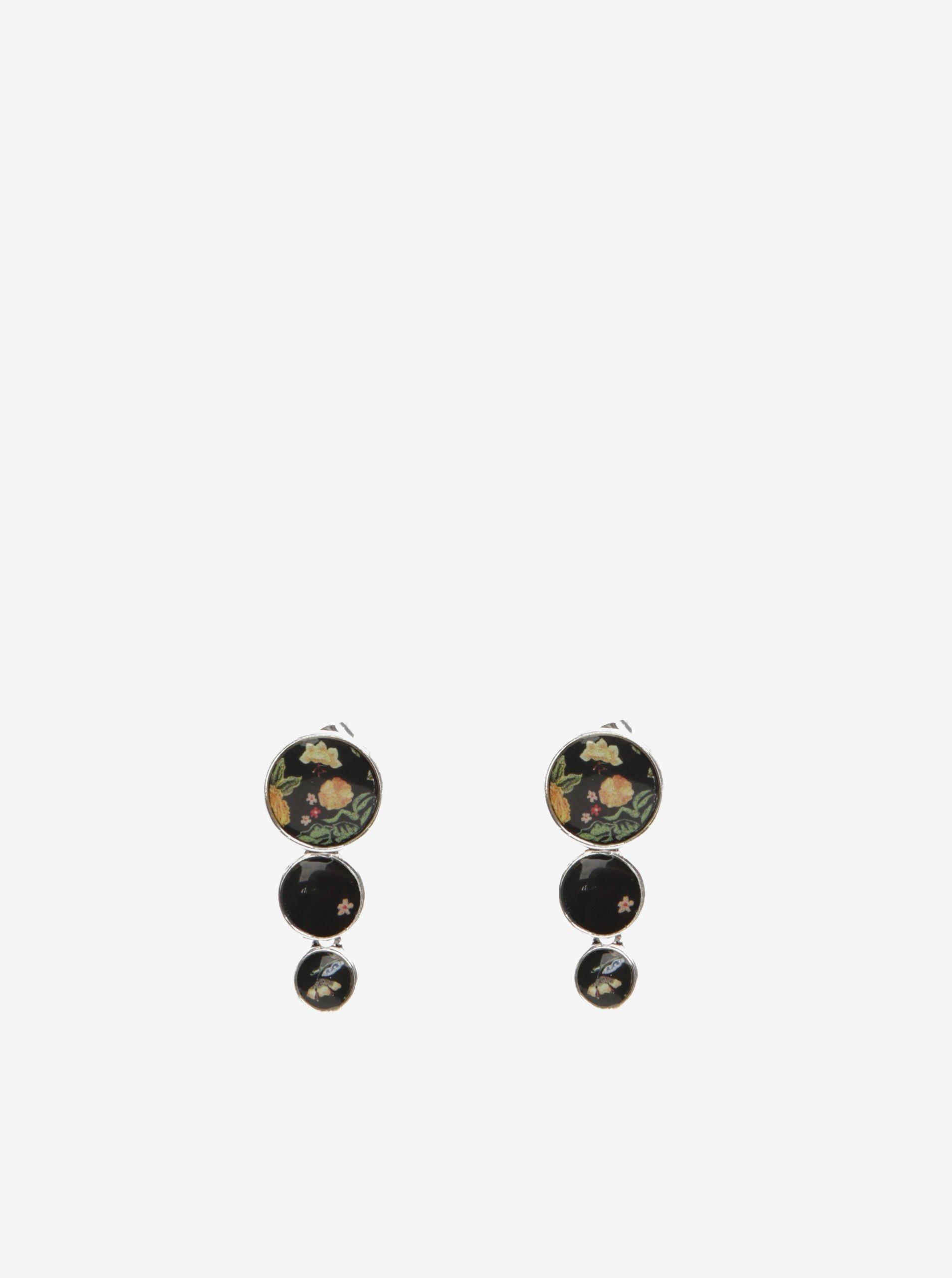 Černé květované naušnice Desigual 36Bolas Florentina