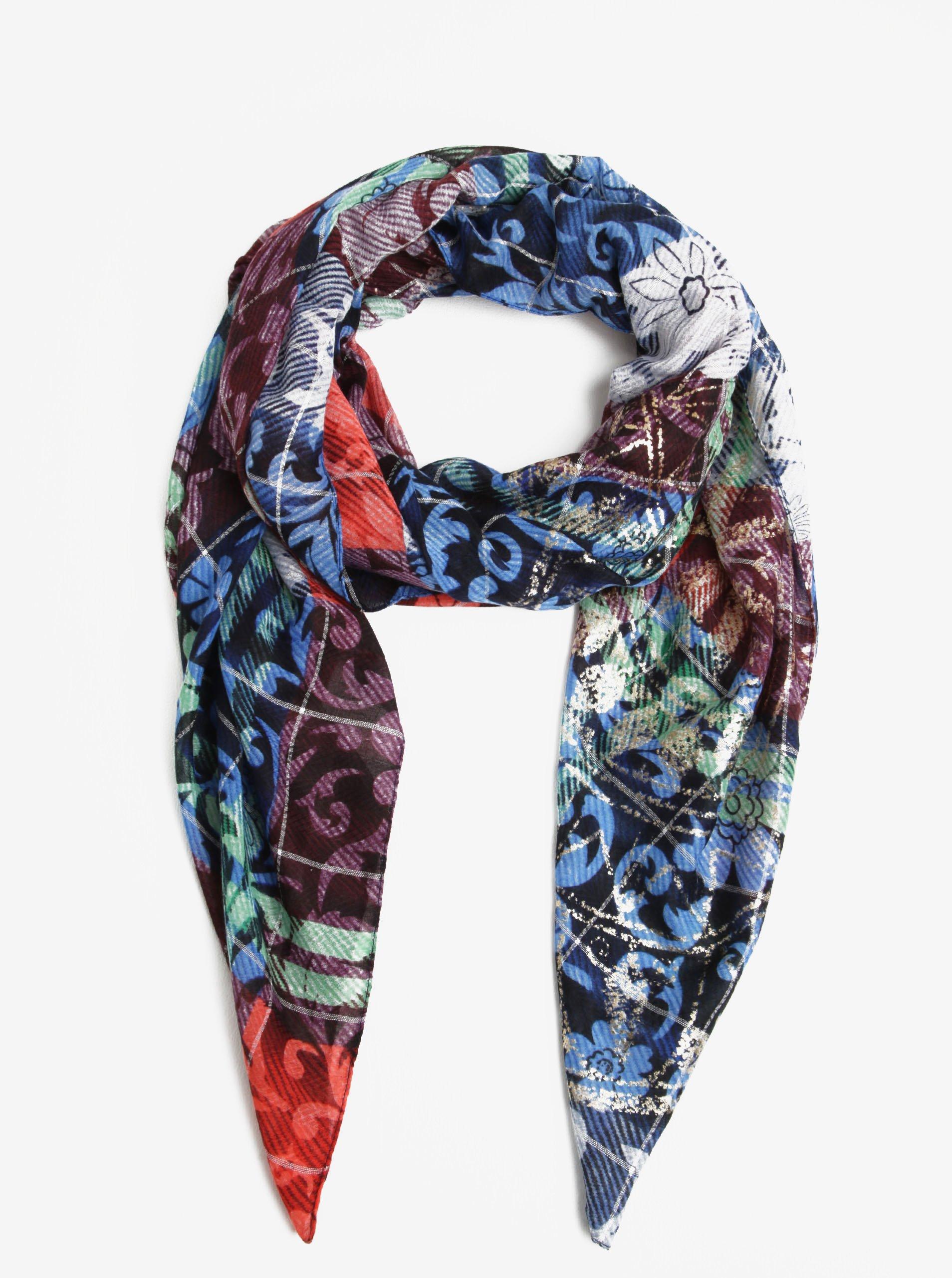 Modrý vzorovaný šátek Desigual Rectangle Transflores