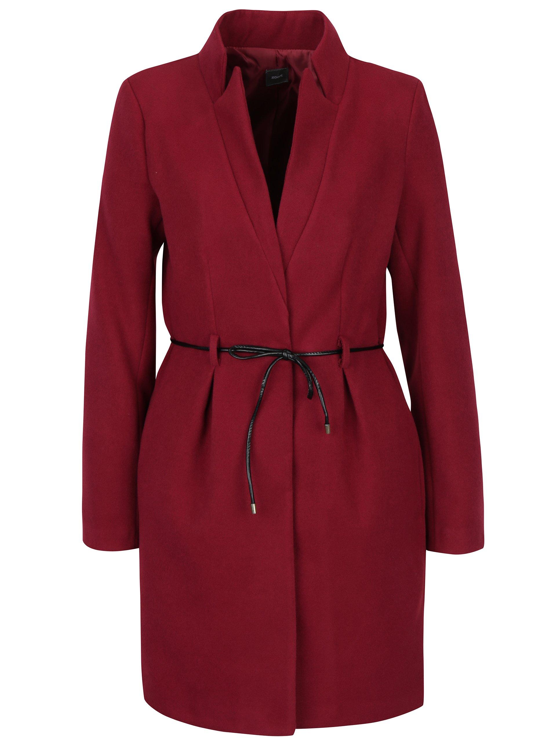 Vínový kabát s tenkým páskem  ZOOT