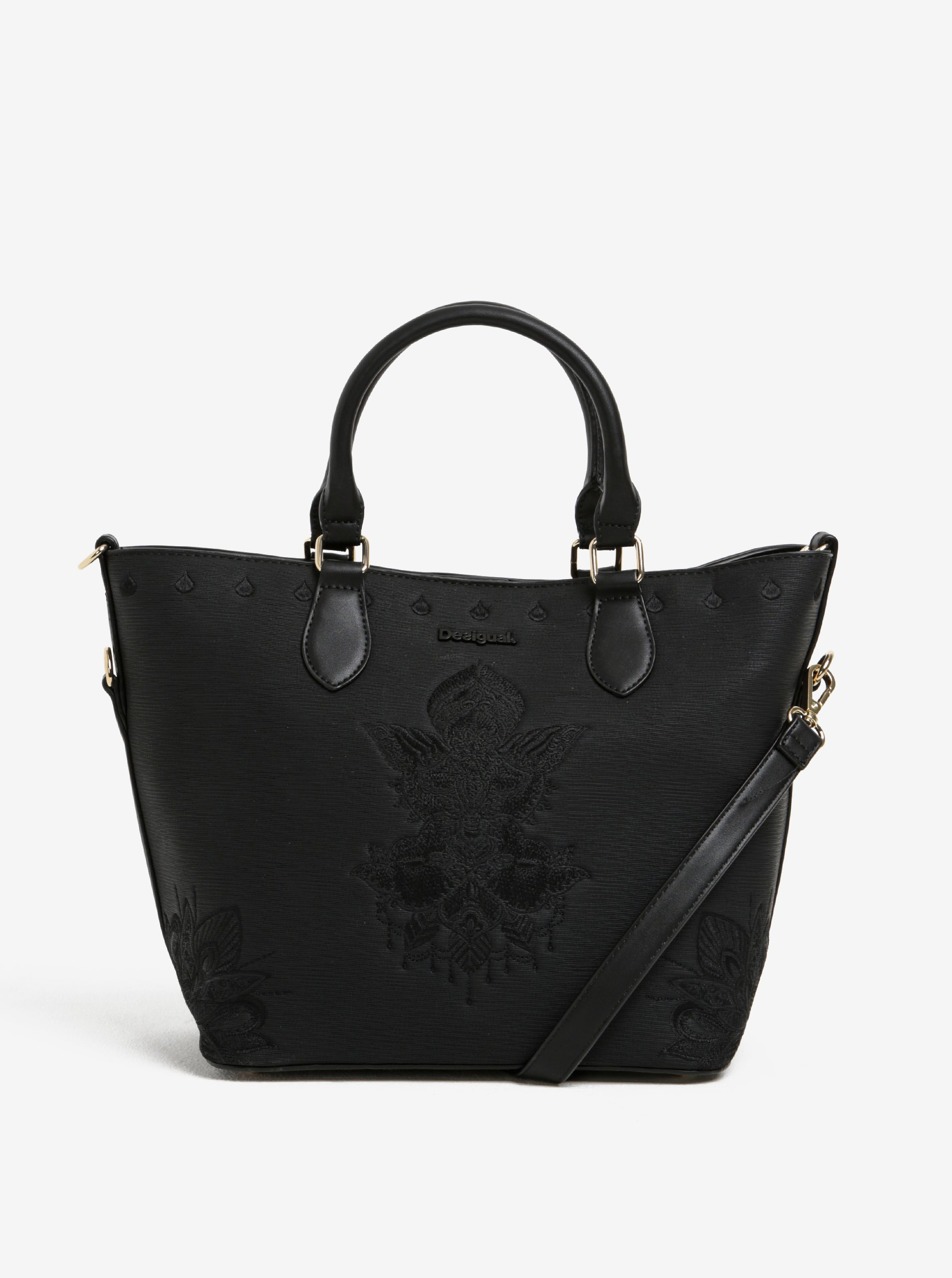 Černá kabelka do ruky/crossbody kabelka Desigual Florida Soft Mehndi