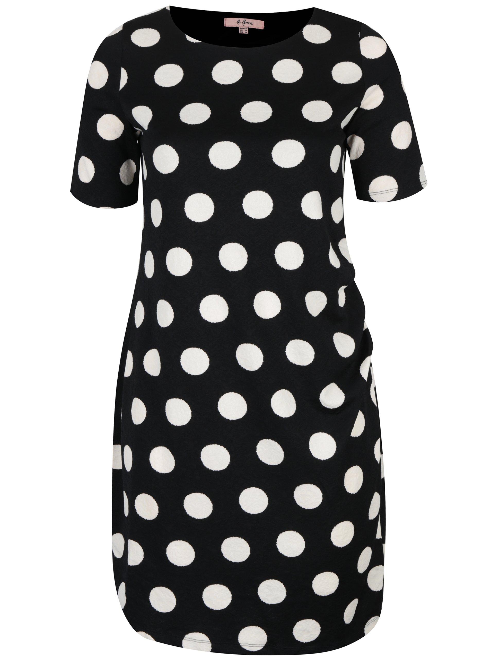 Černé pouzdrové puntíkované šaty s řasením na boku LA Lemon