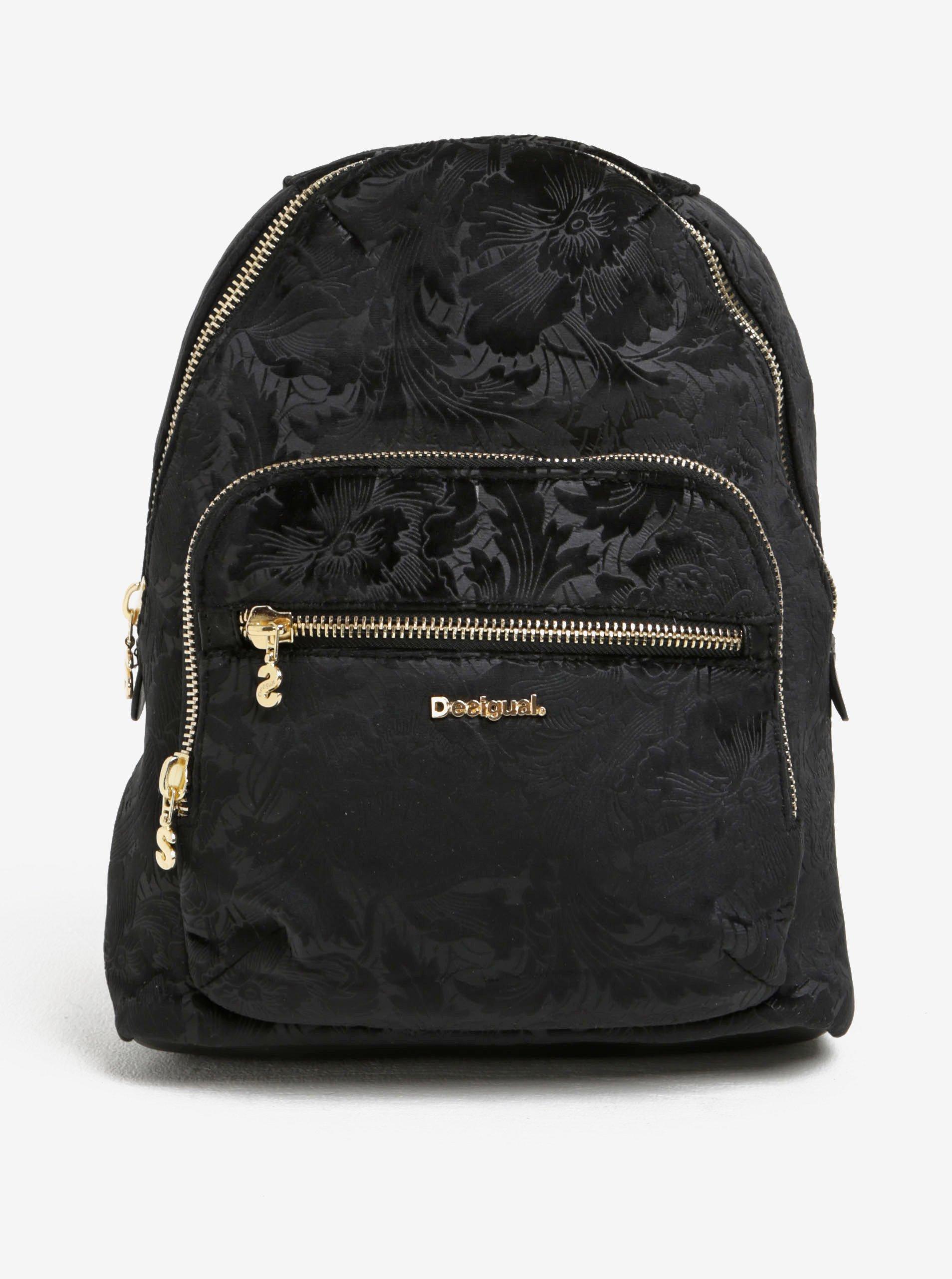 Černý vzorovaný batoh Desigual Lima Velvety