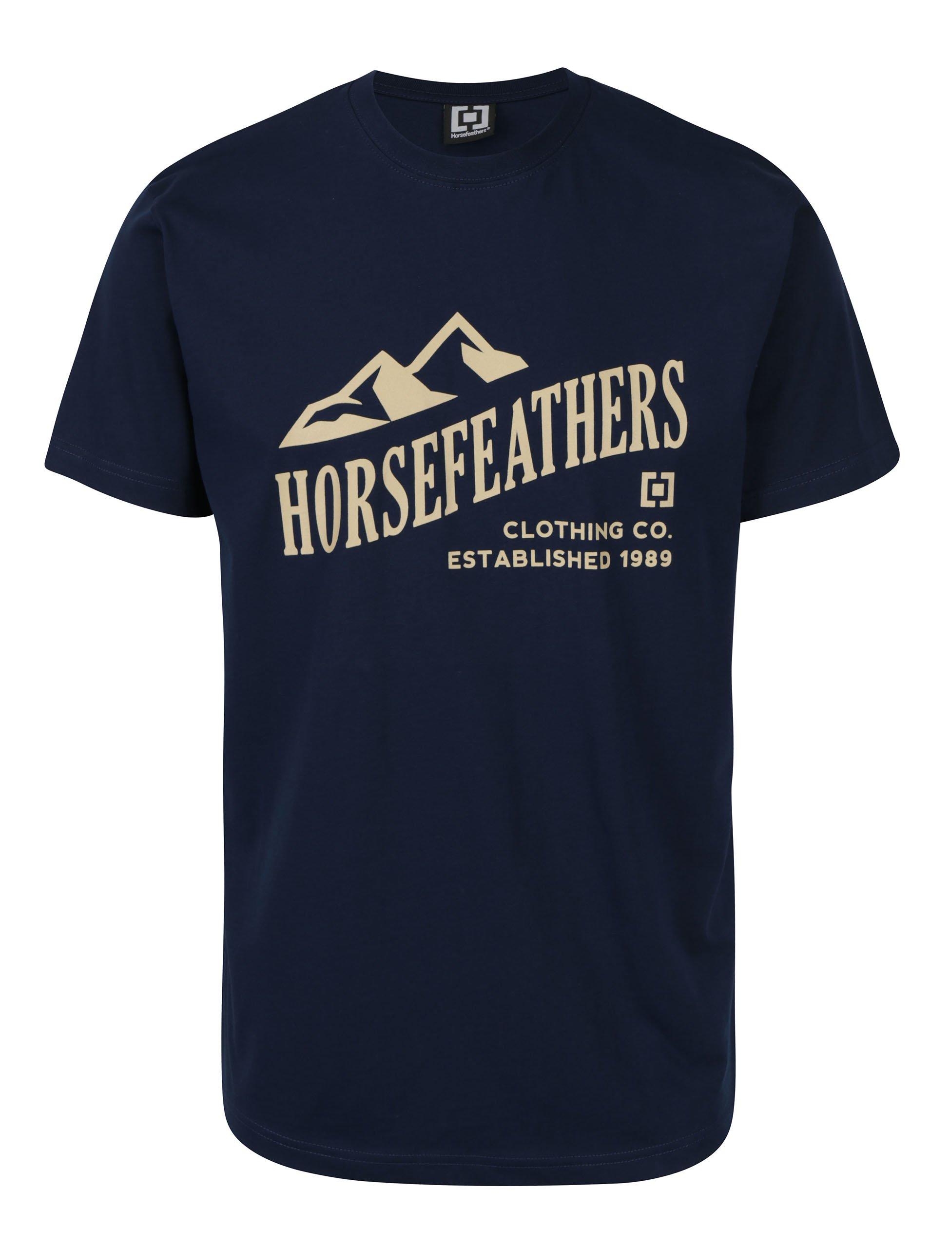 Tmavě modré pánské tričko s krátkým rukávem a potiskem Horsefeathers Ripple
