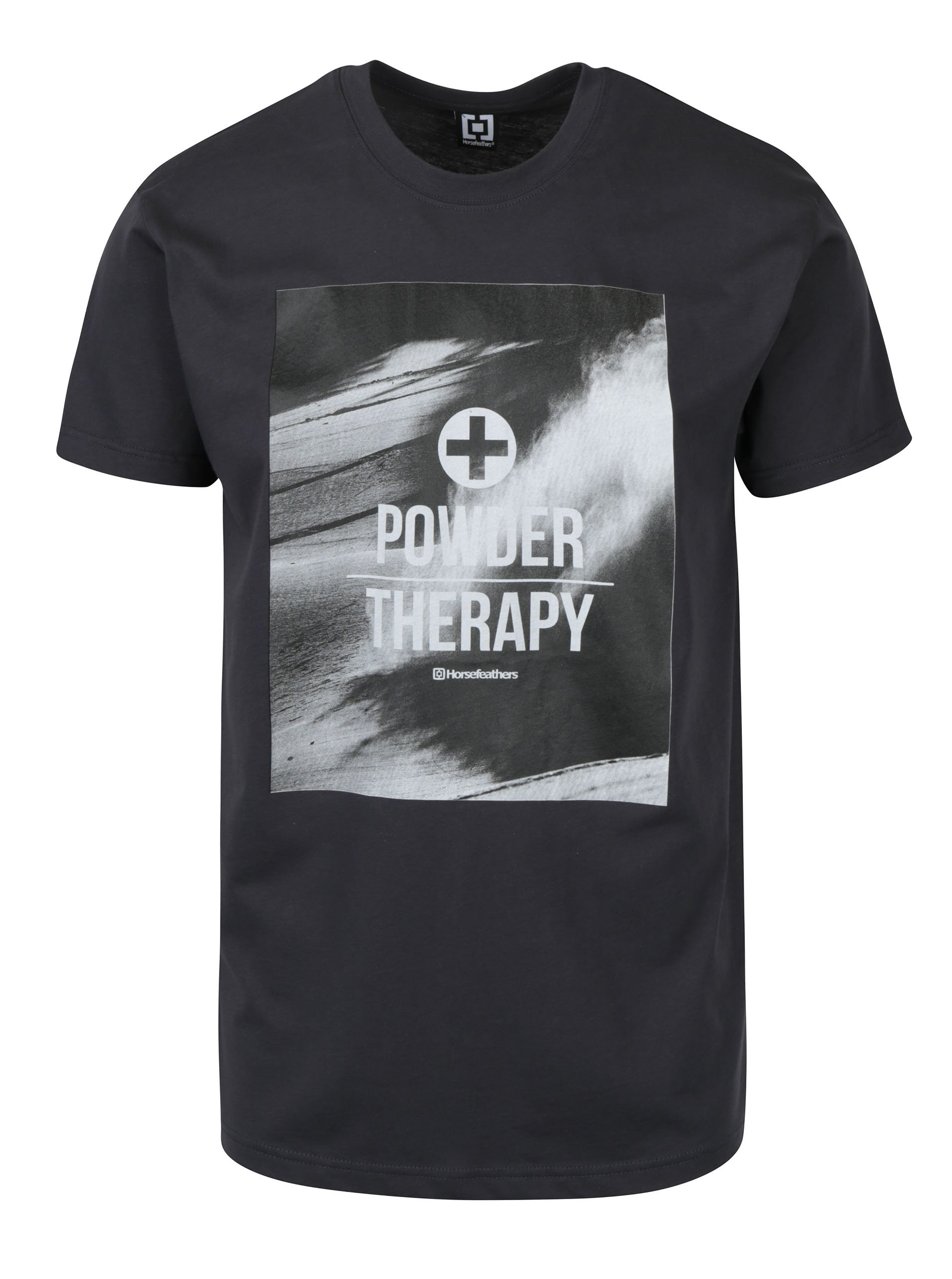 Tmavě šedé pánské tričko s potiskem Horsefeathers Stratus