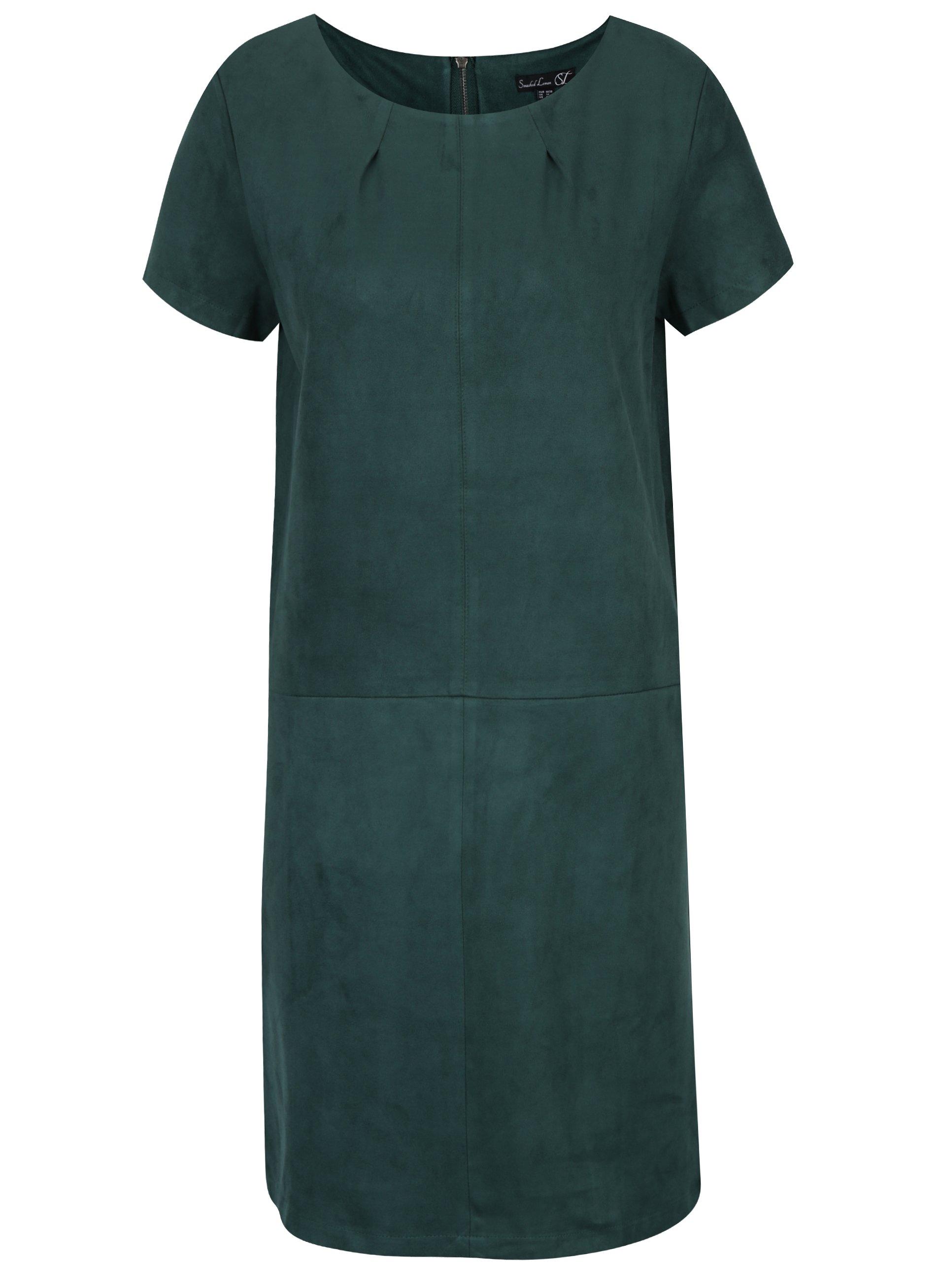 Tmavě zelené šaty s krátkým rukávem Smashed Lemon