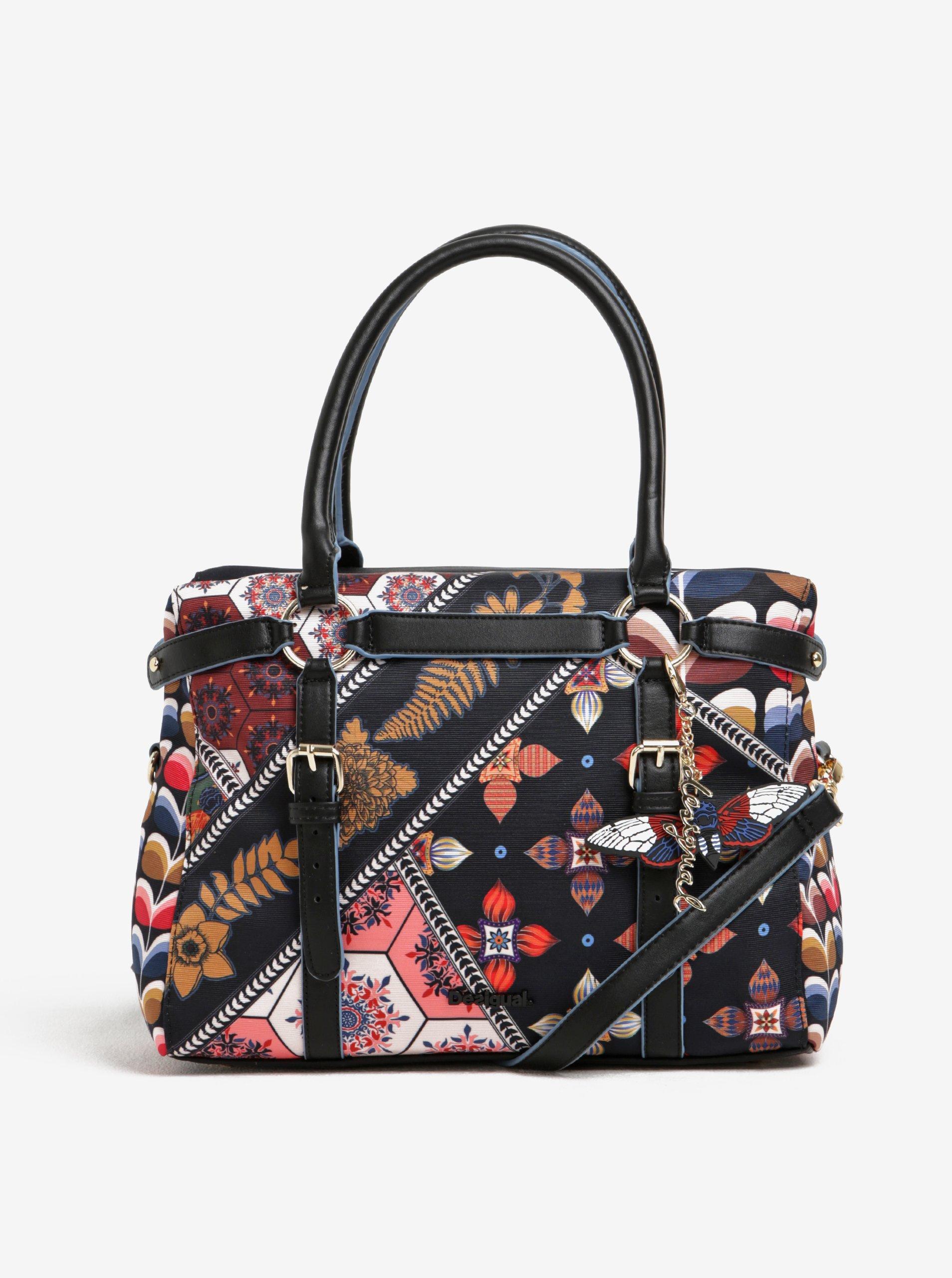 Černá vzorovaná kabelka do ruky Desigual San Marino Retro Fresh fbb340ba1df