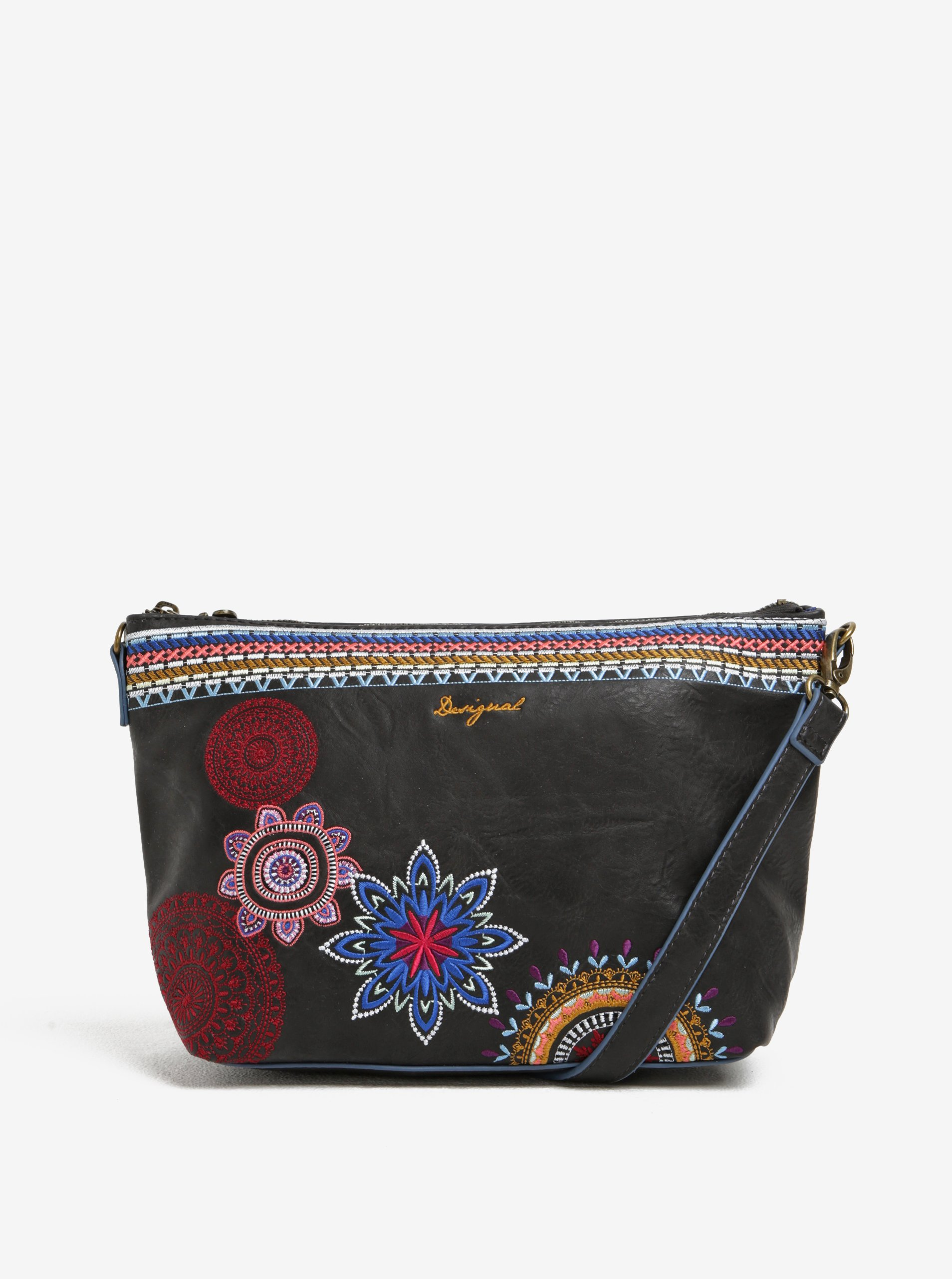 Černá kabelka s vyšívanými ornamenty Desigual Catania Amber