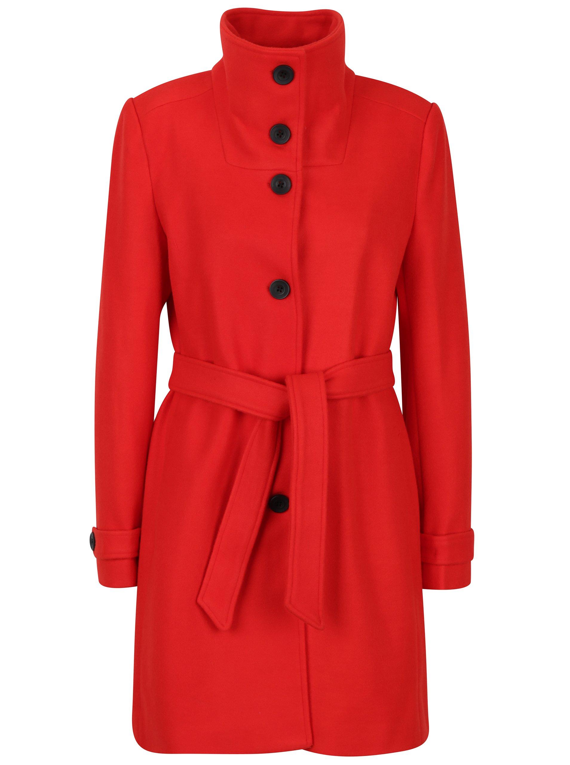 Červený kabát s příměsí vlny Smashed Lemon