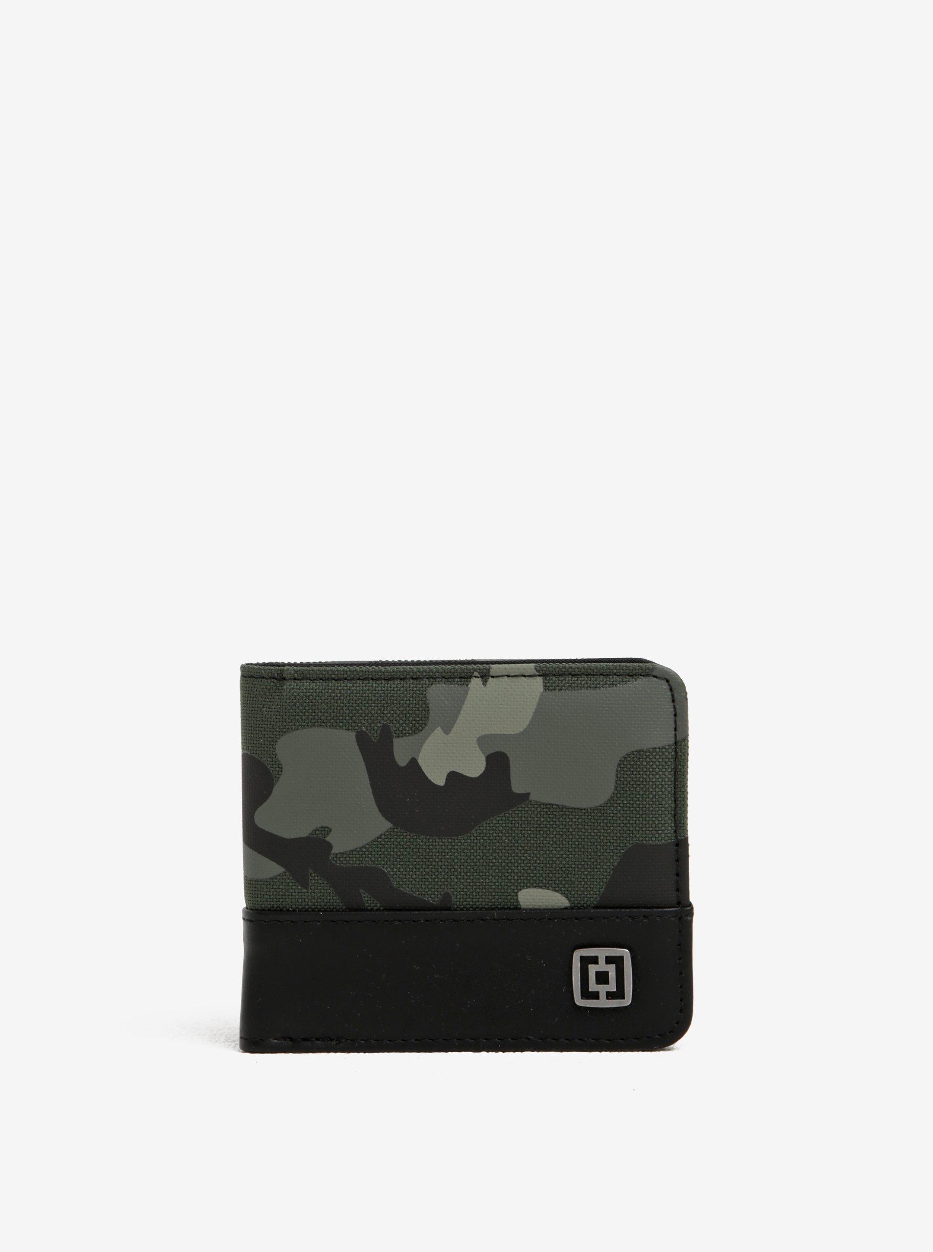 Černo-zelená pánská maskáčová peněženka Horsefeathers Terry