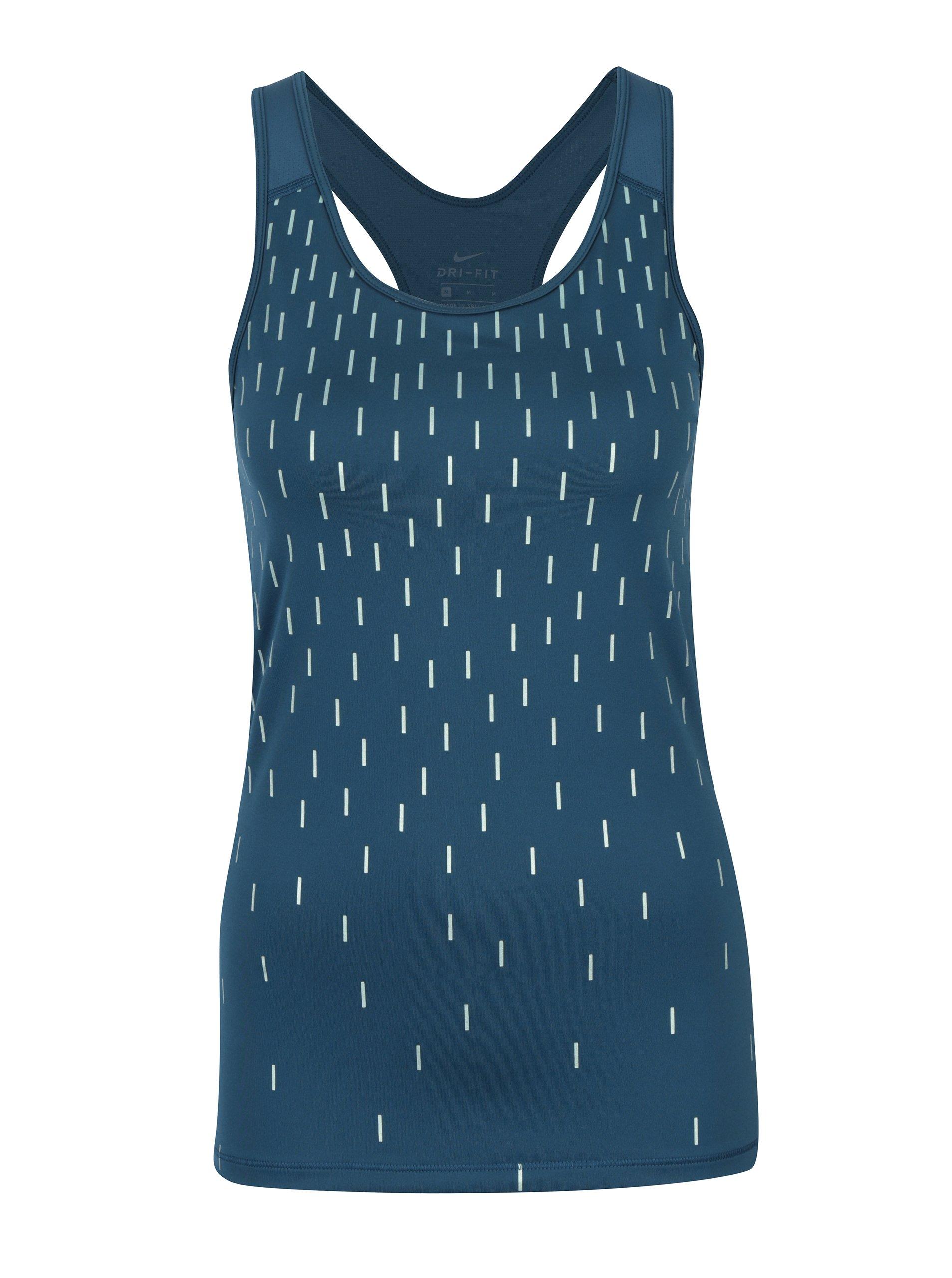 Modré dámské vzorované funkční tílko Nike
