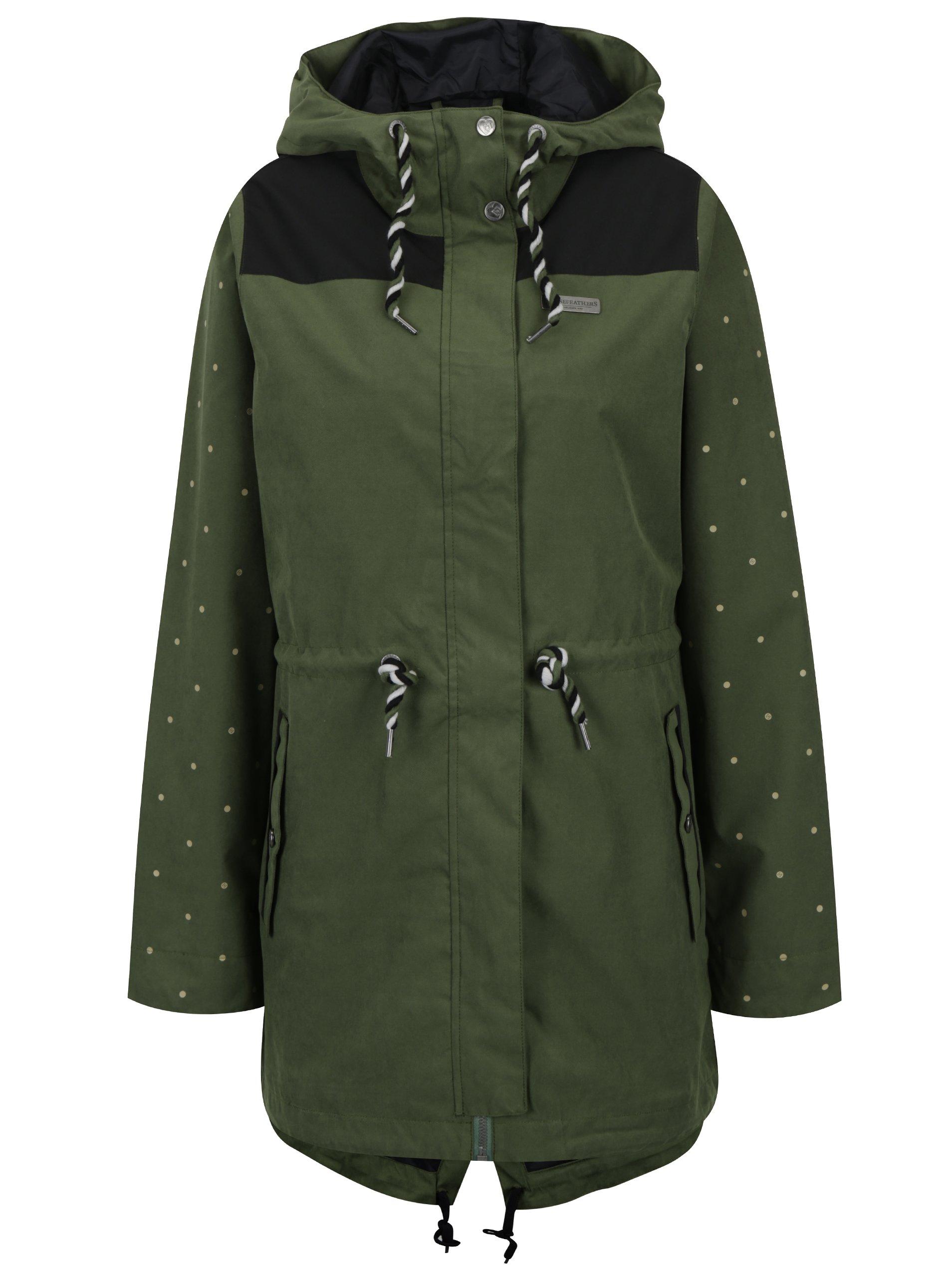 Černo-zelená nepromokavá dámská bunda s kapucí Horsefeathers Birch