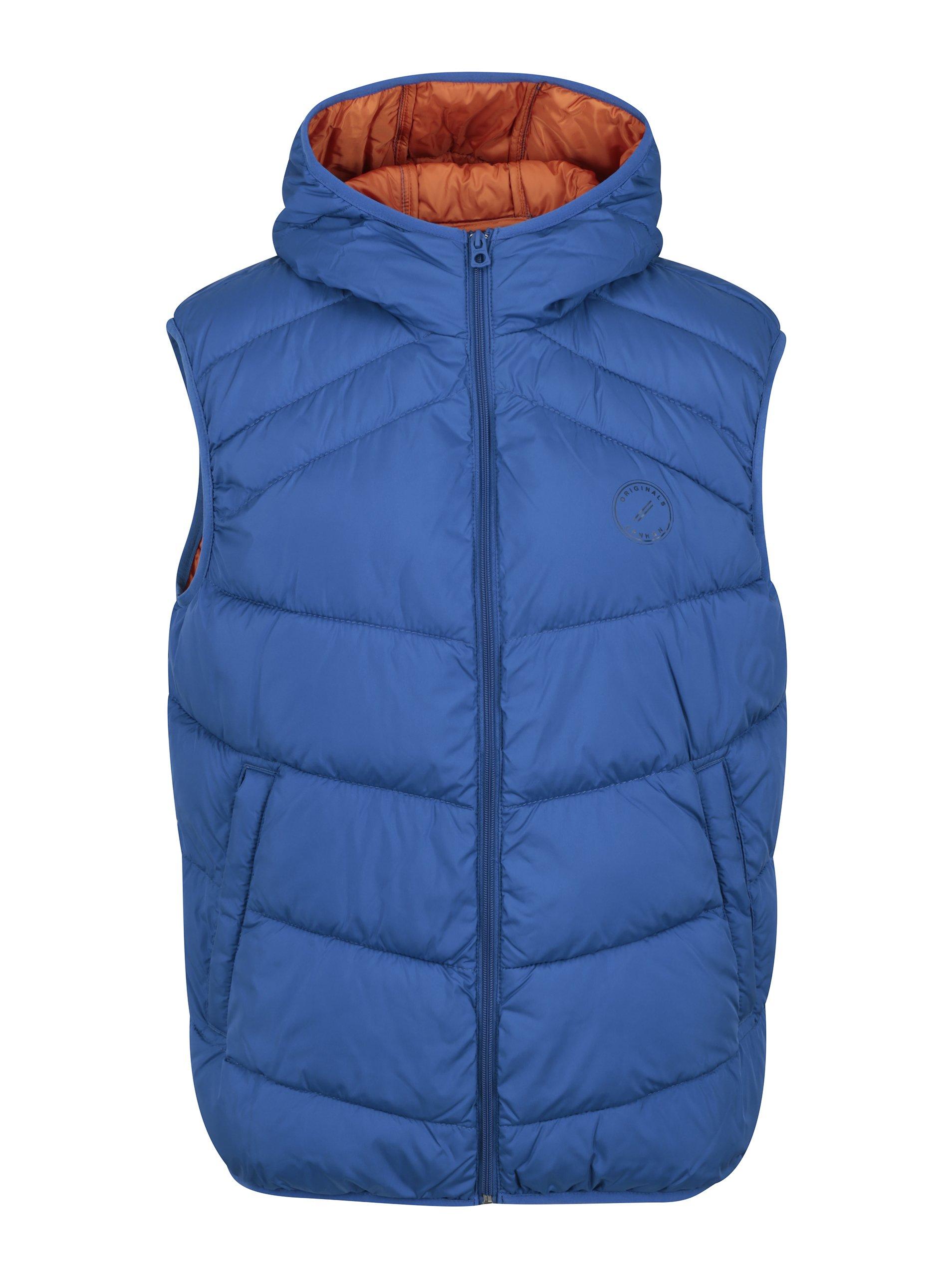 Modrá prošívaná vesta s kapucí Jack & Jones Landing