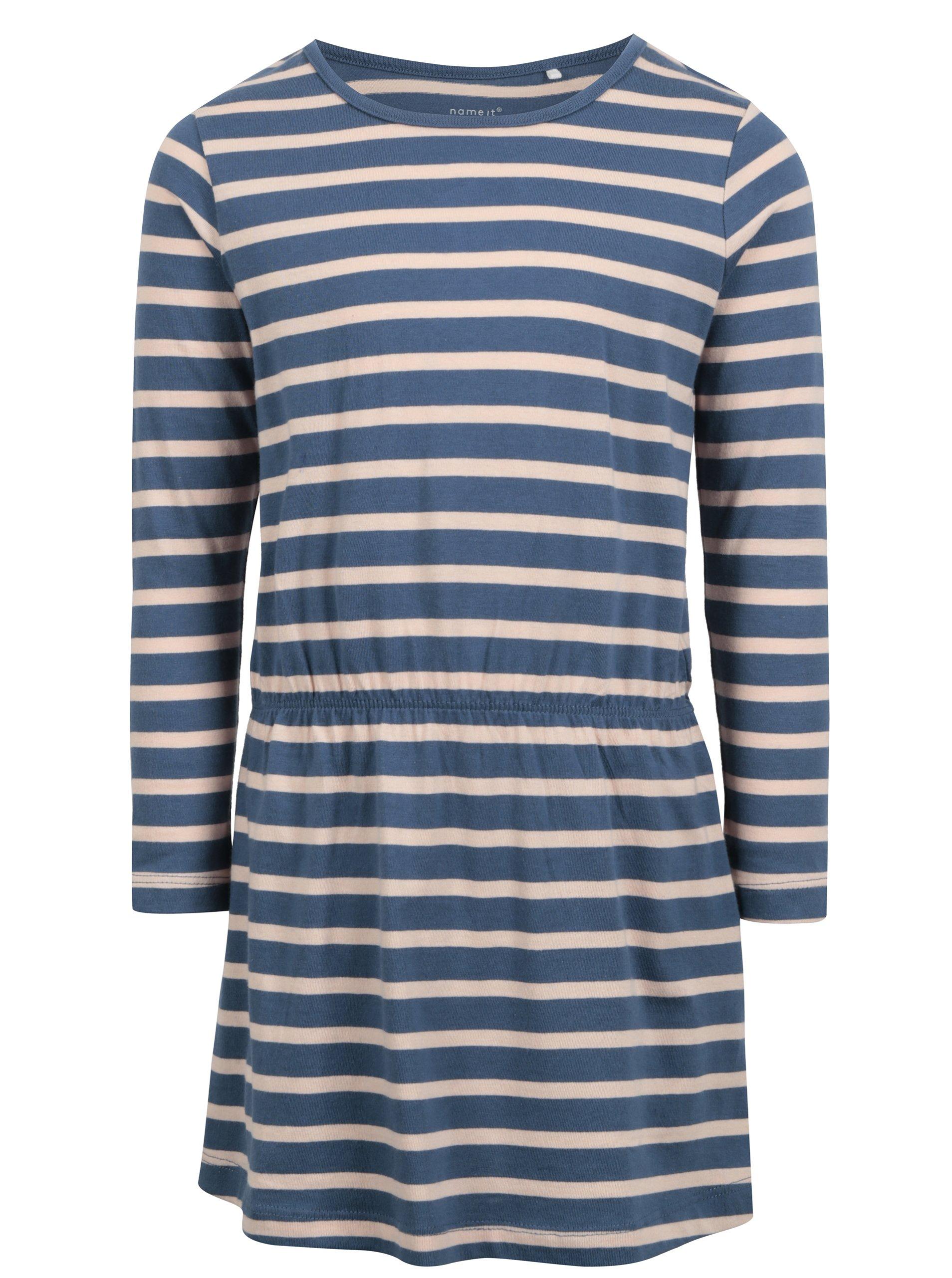 Modré holčičí pruhované šaty name it Velvet