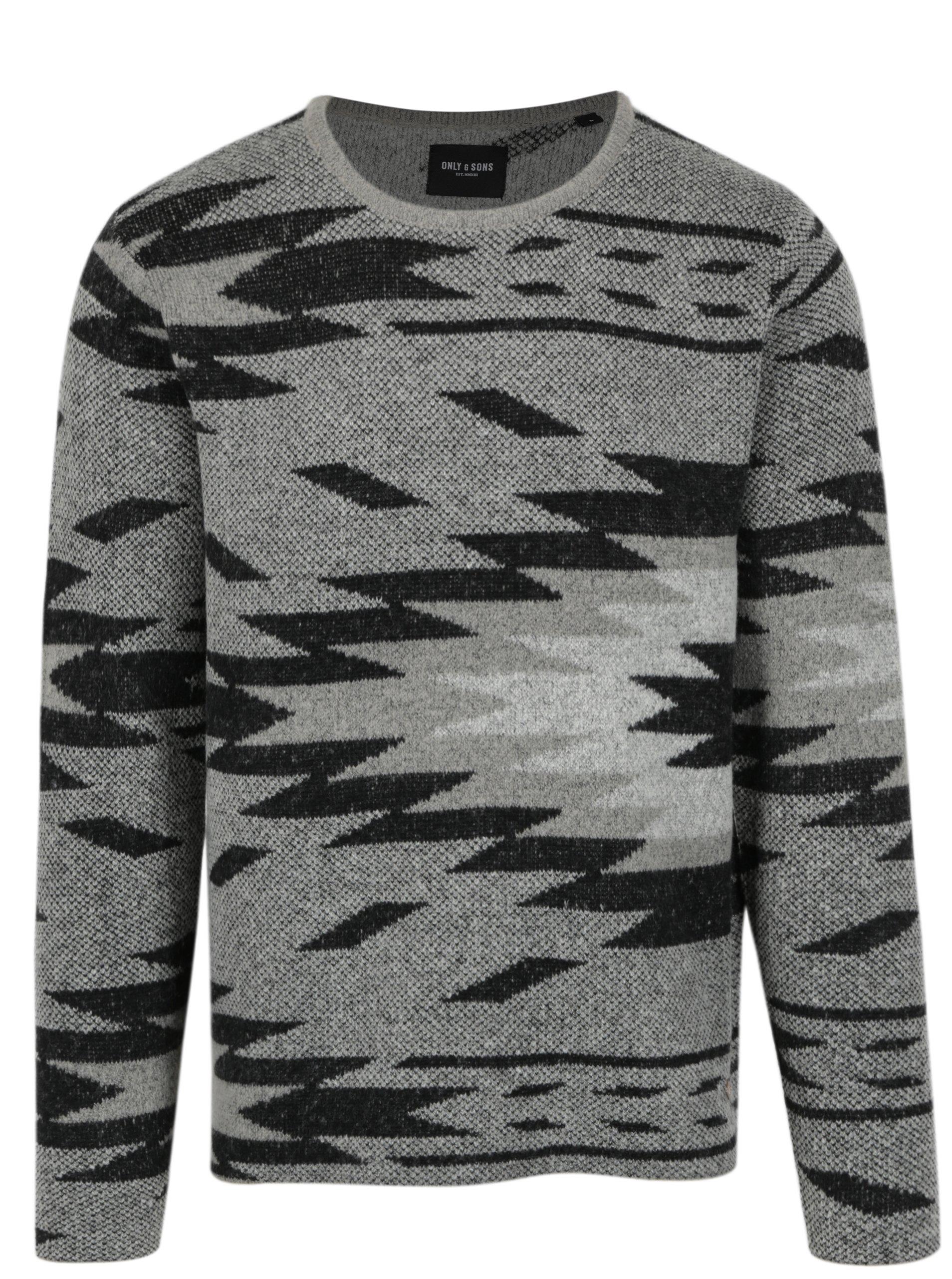 Černo-šedý vzorovaný svetr ONLY & SONS Hadar