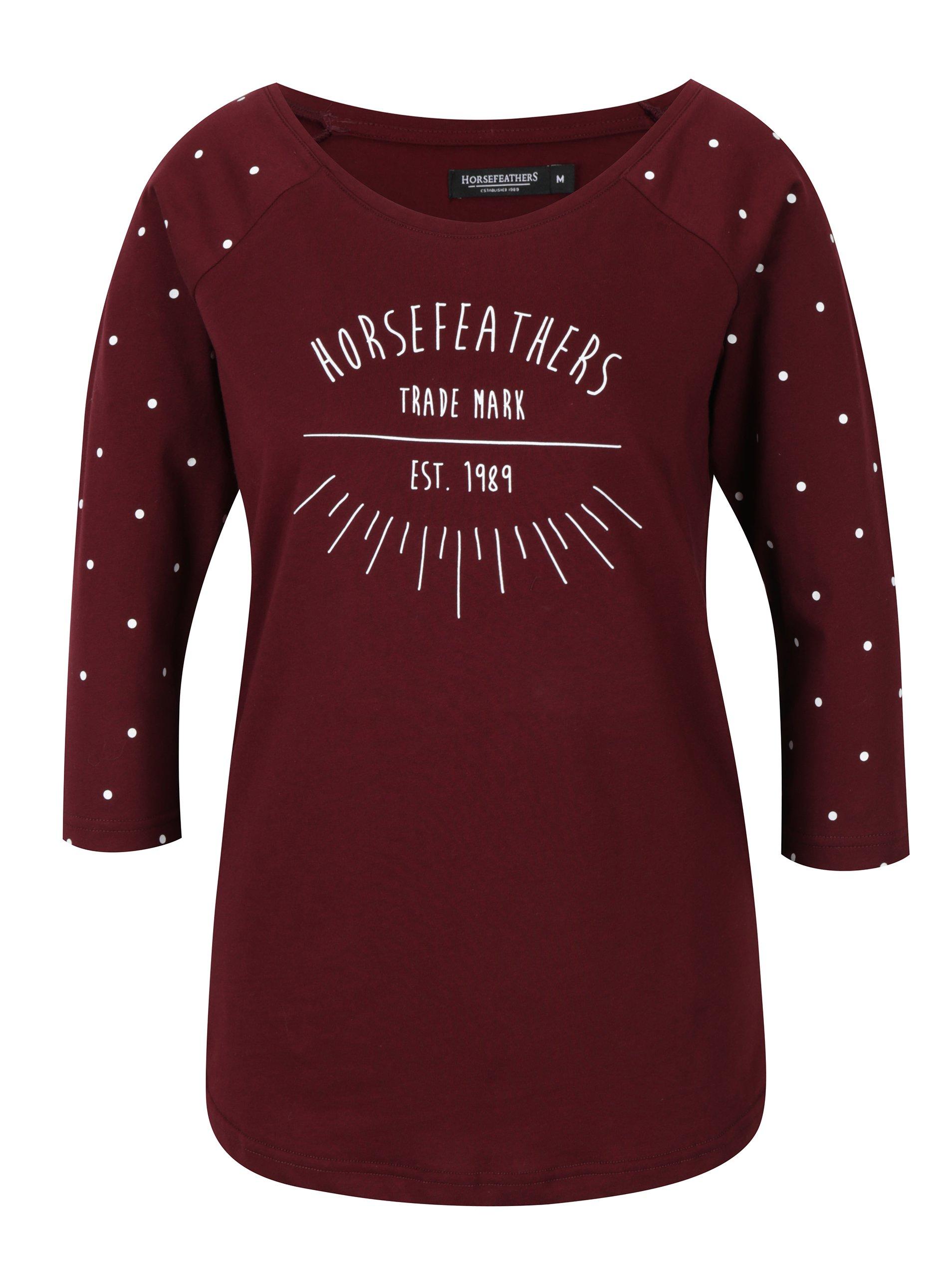 Vínové dámské tričko s 3/4 rukávem a potiskem Horsefeathers Togo
