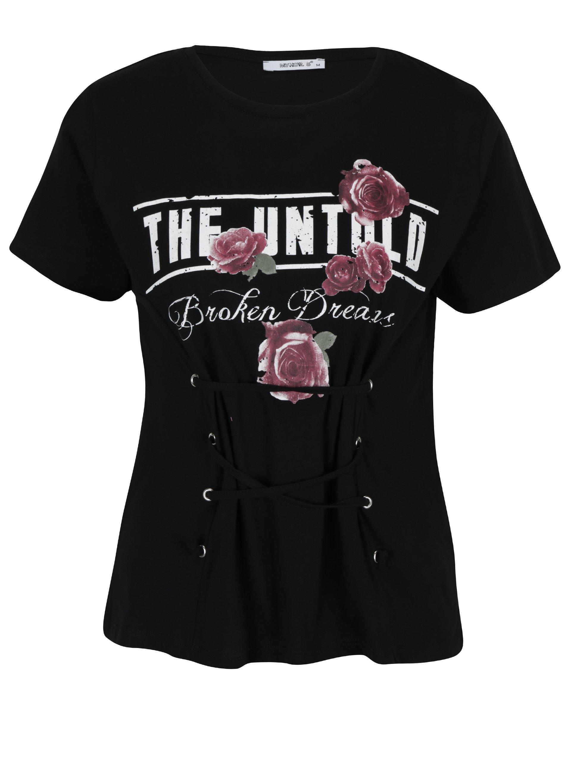 Černé tričko se šněrováním Haily´s Broken