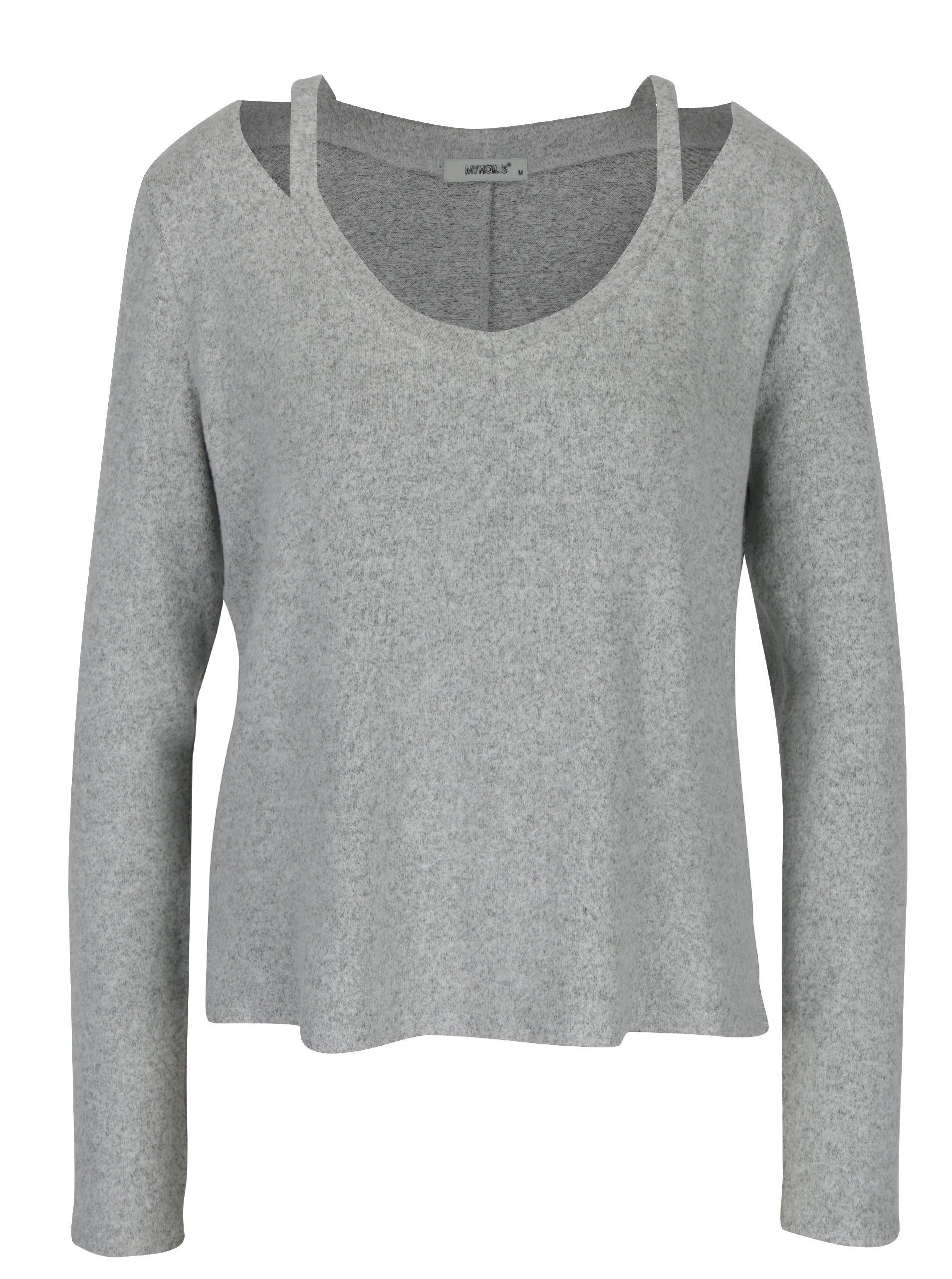 Šedý svetr s prodlouženou zadní částí Haily´s Sunny