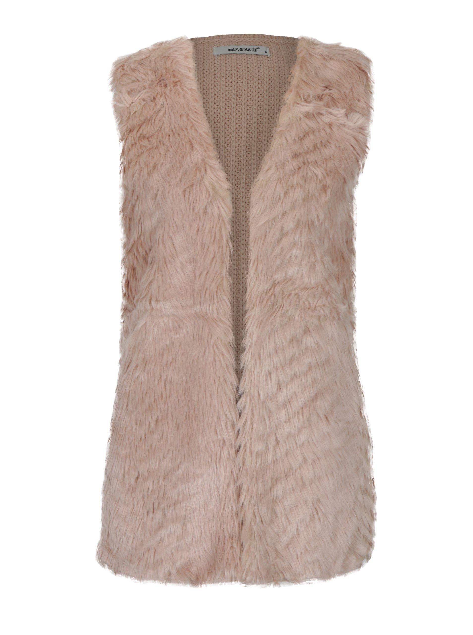Růžová pletená vesta s umělým kožíškem Haily´s Tara