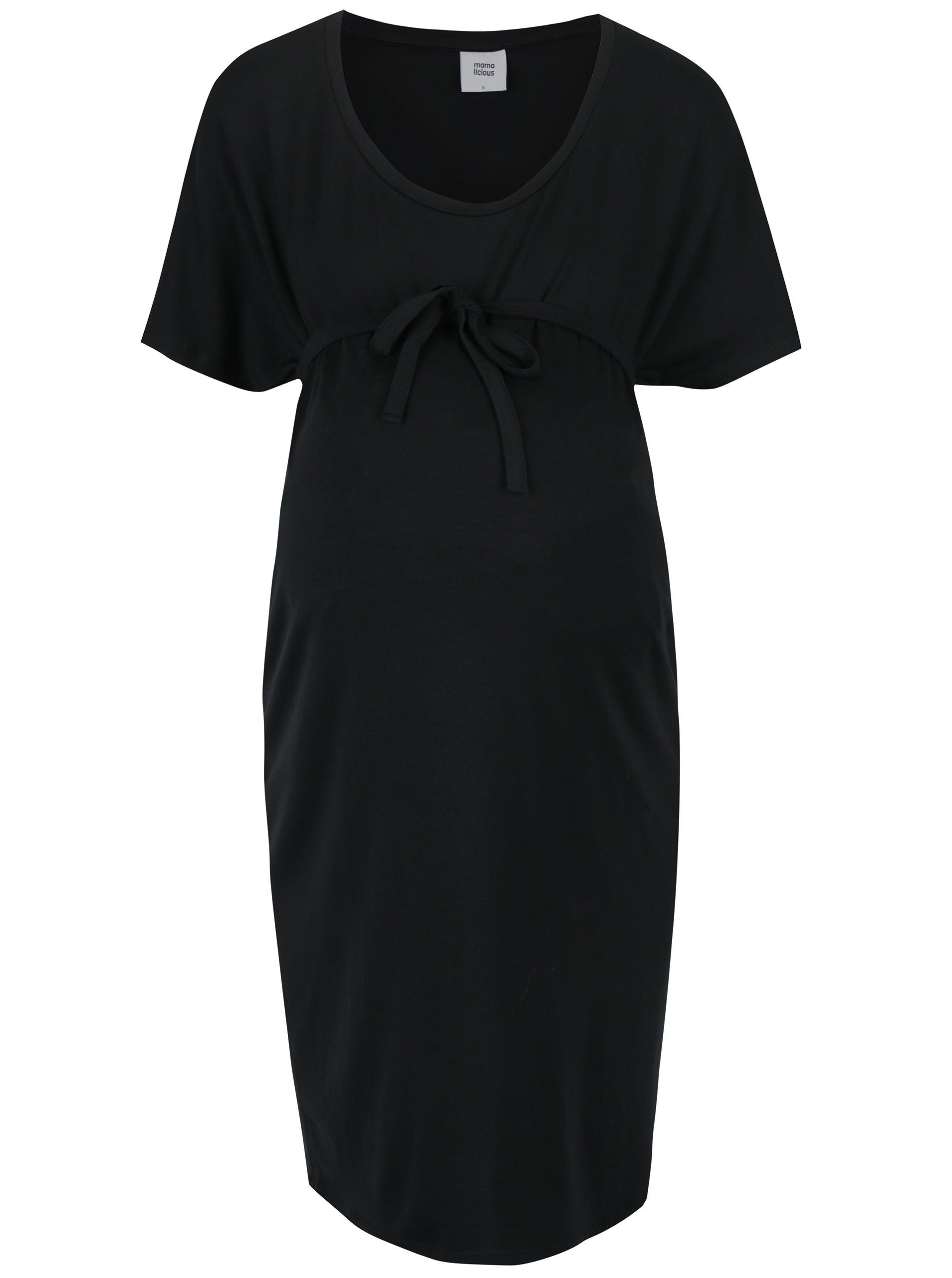 Černé těhotenské šaty se zavazováním Mama.licious Alva