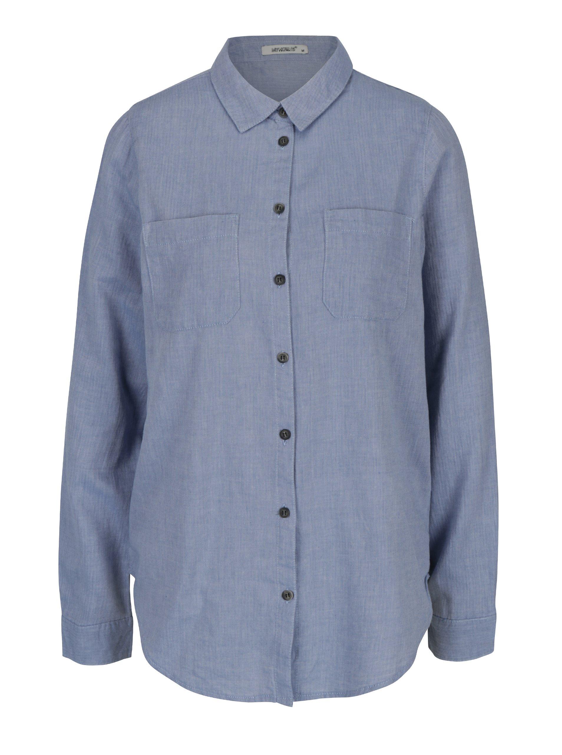 Modrá košile s výšivkou na zádech Haily´s Betty