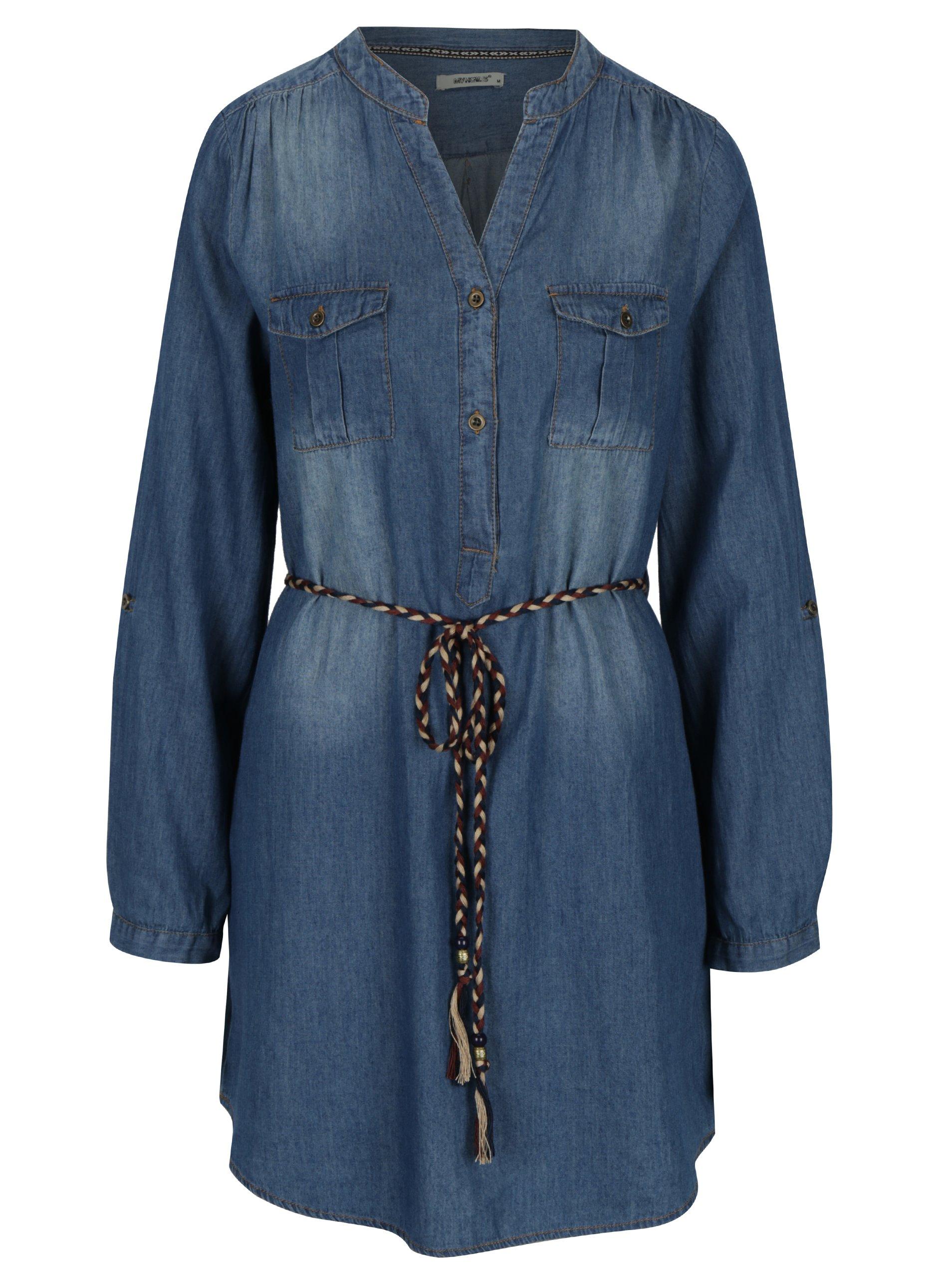 Modré košilové šaty s páskem Haily´s Pat