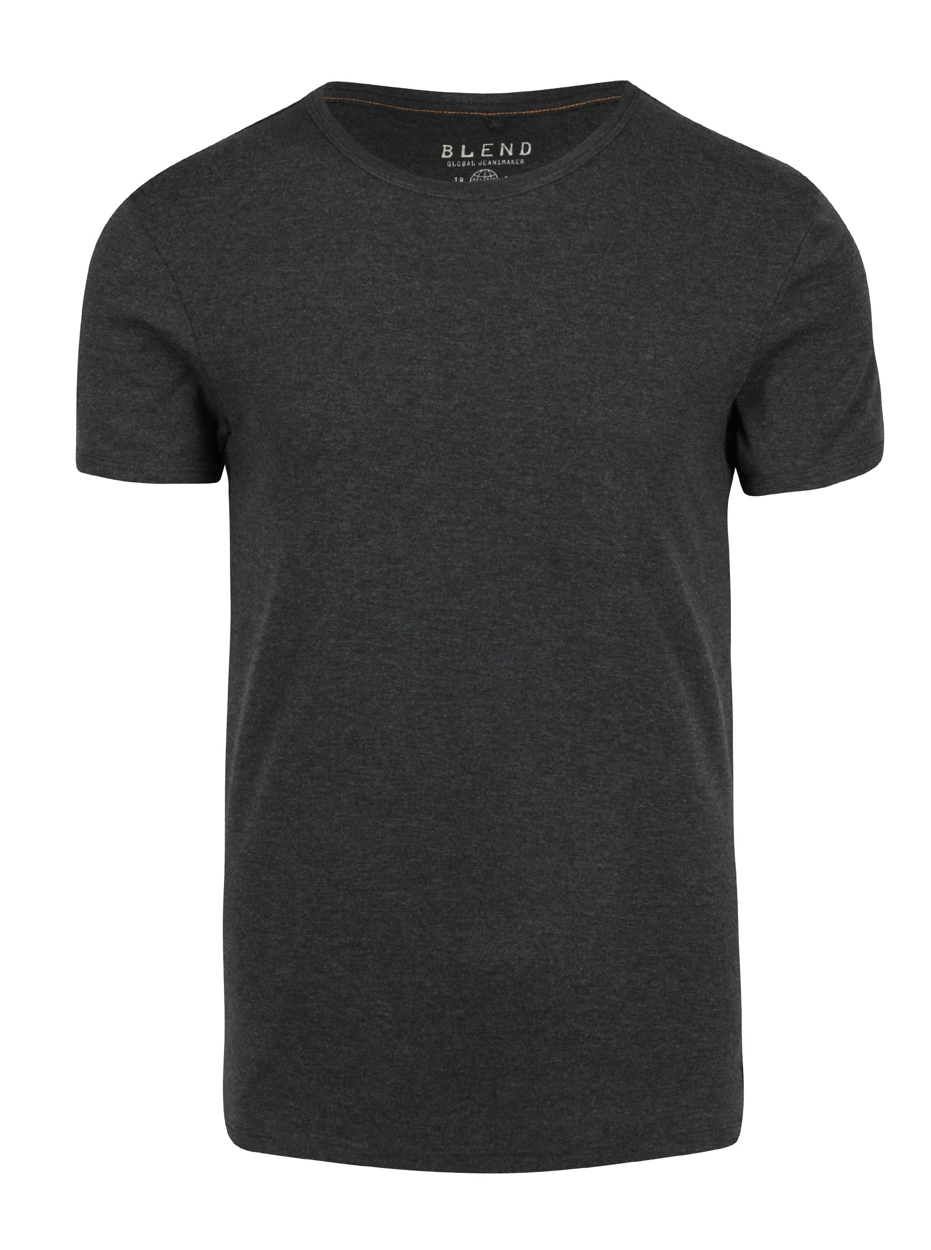 Tmavě šedé basic tričko s kulatým výstřihem Blend