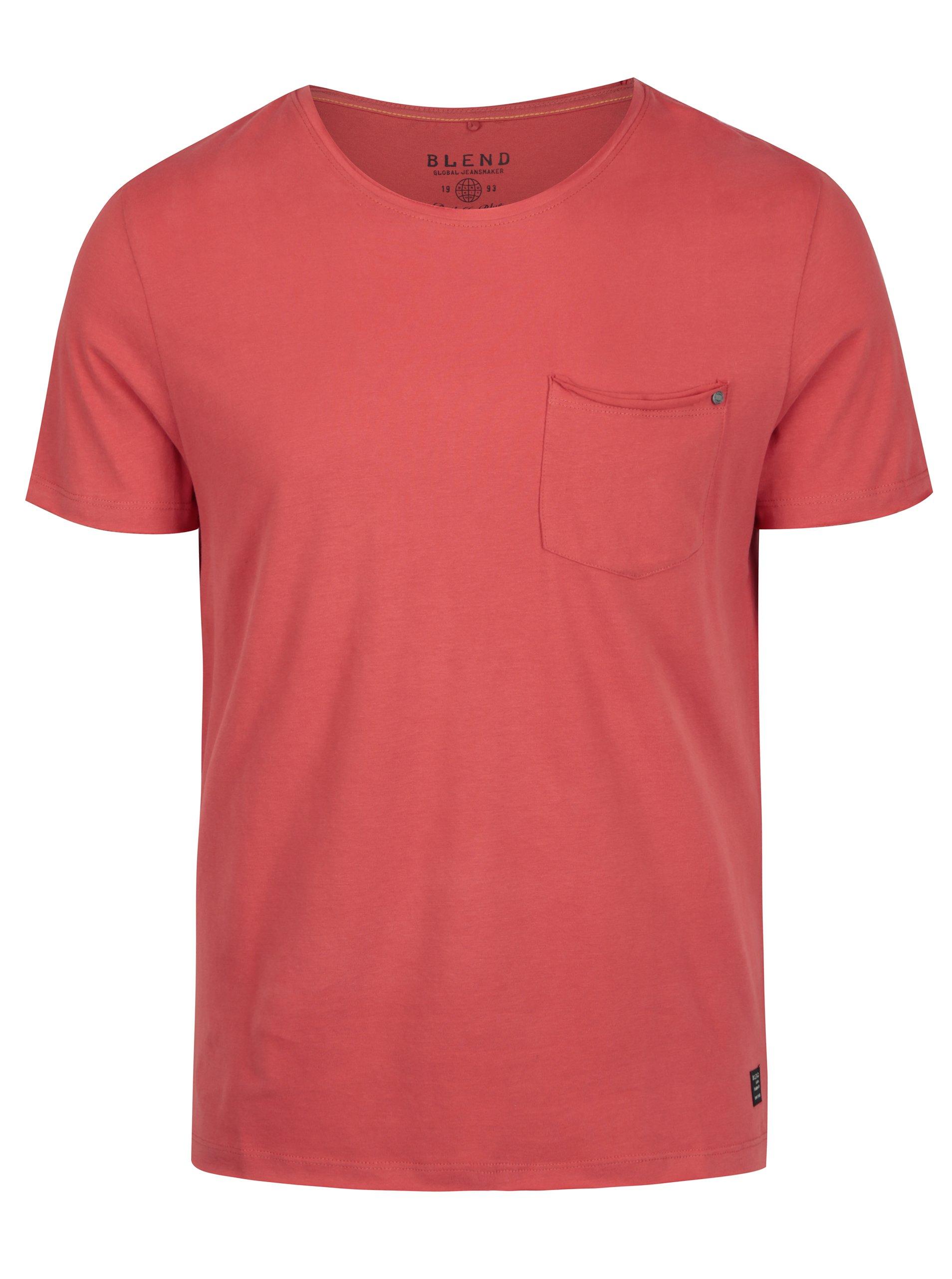 Červené slim fit tričko s náprsní kapsou Blend