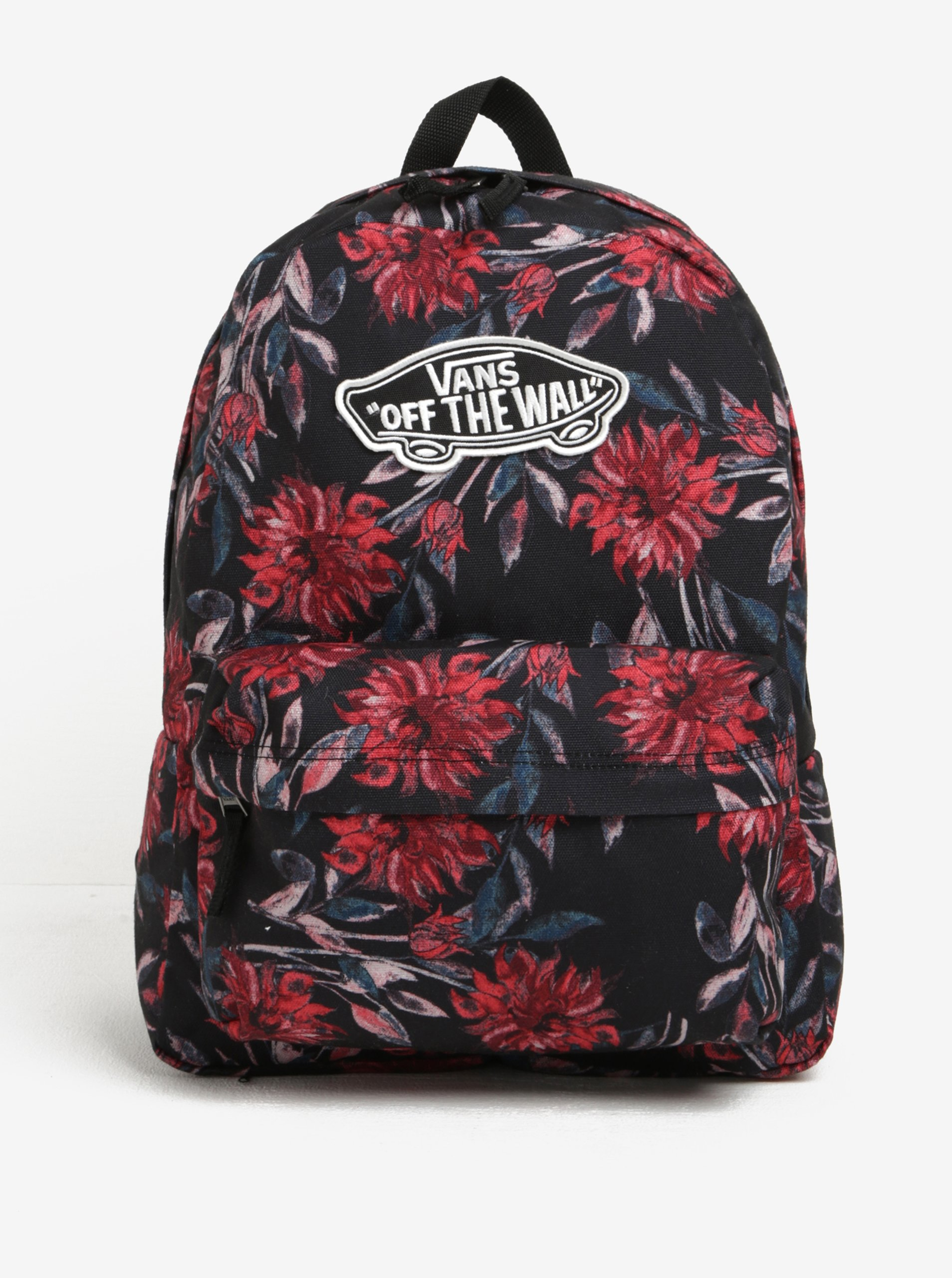 Červeno-černý dámský květovaný batoh VANS Realm 22 l
