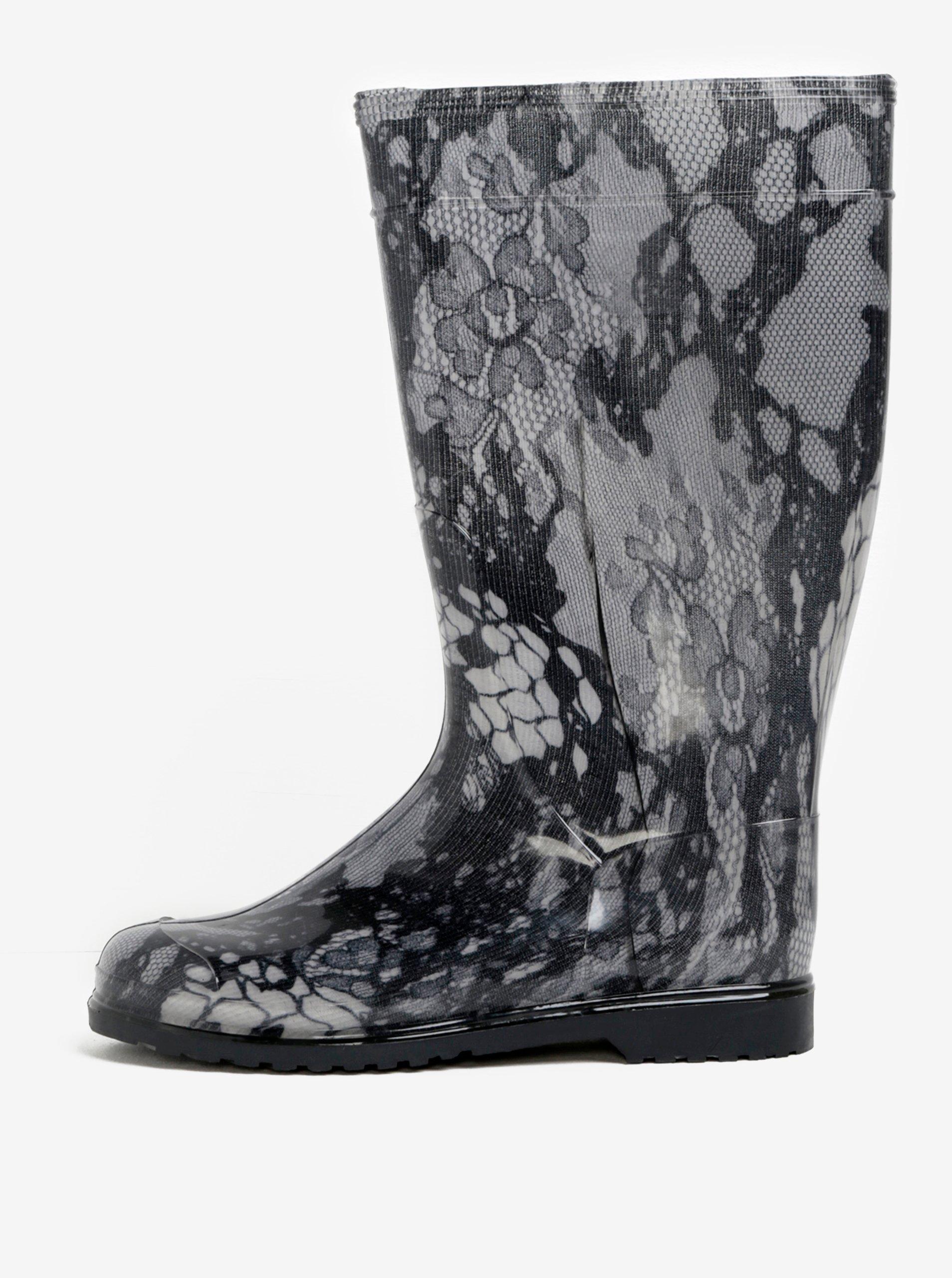 Černo-šedý dámské vzorované holínky Oldcom Rain