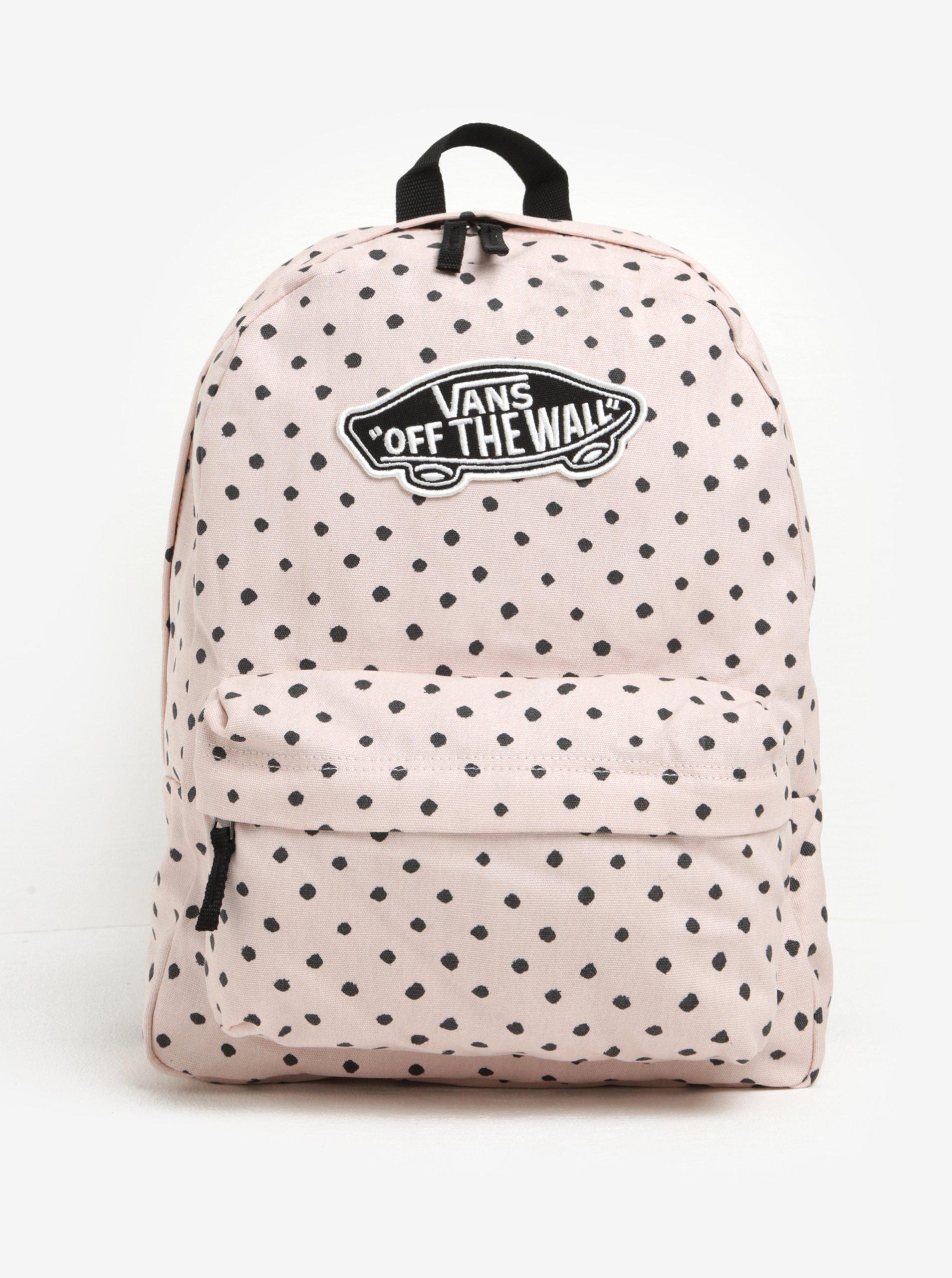 Světle růžový dámský puntíkovaný batoh VANS Realm 22 l