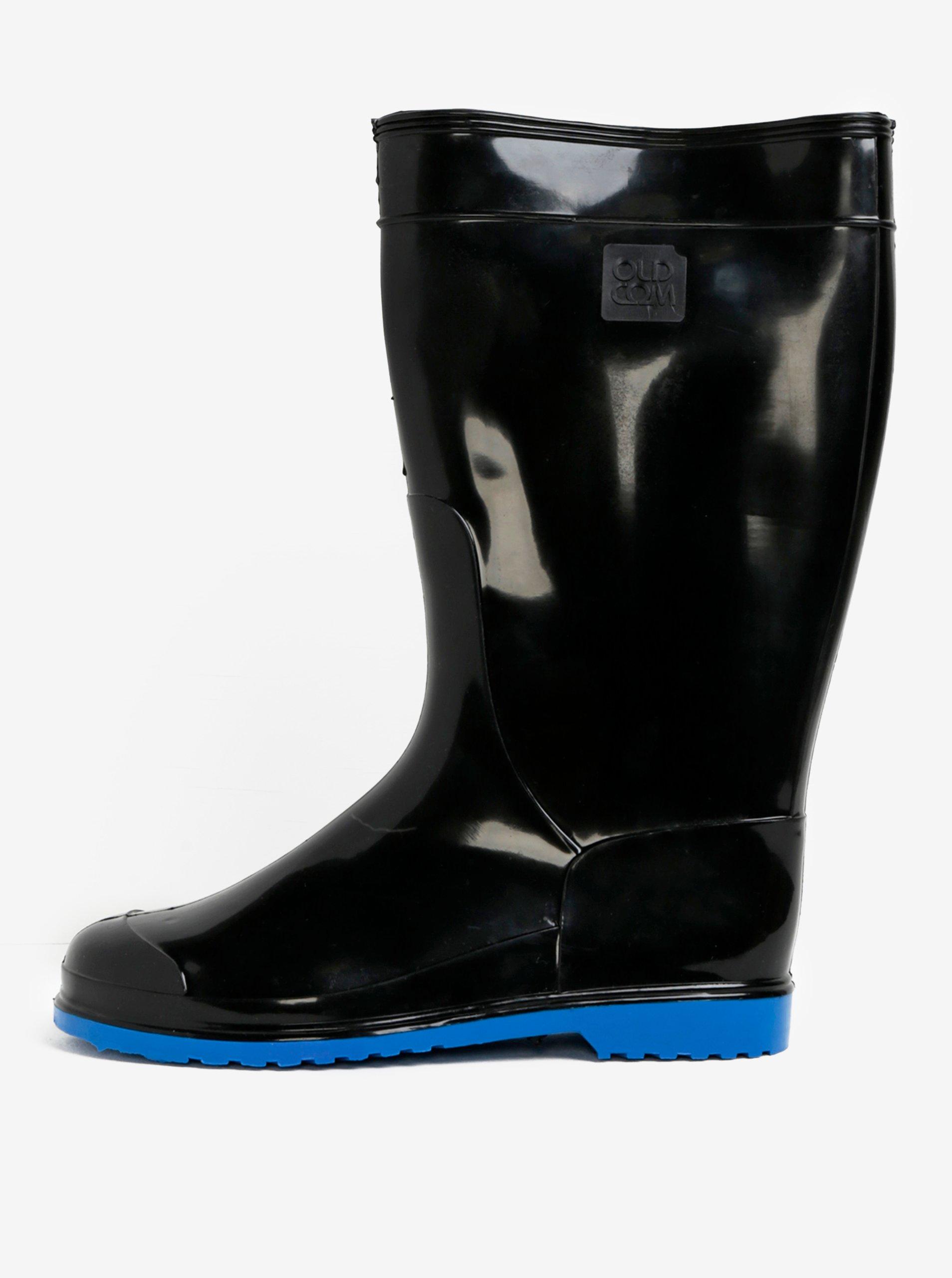 361e10365f4b7 Čierne dámske gumáky s podrážkou v modrej farbe Oldcom Accent