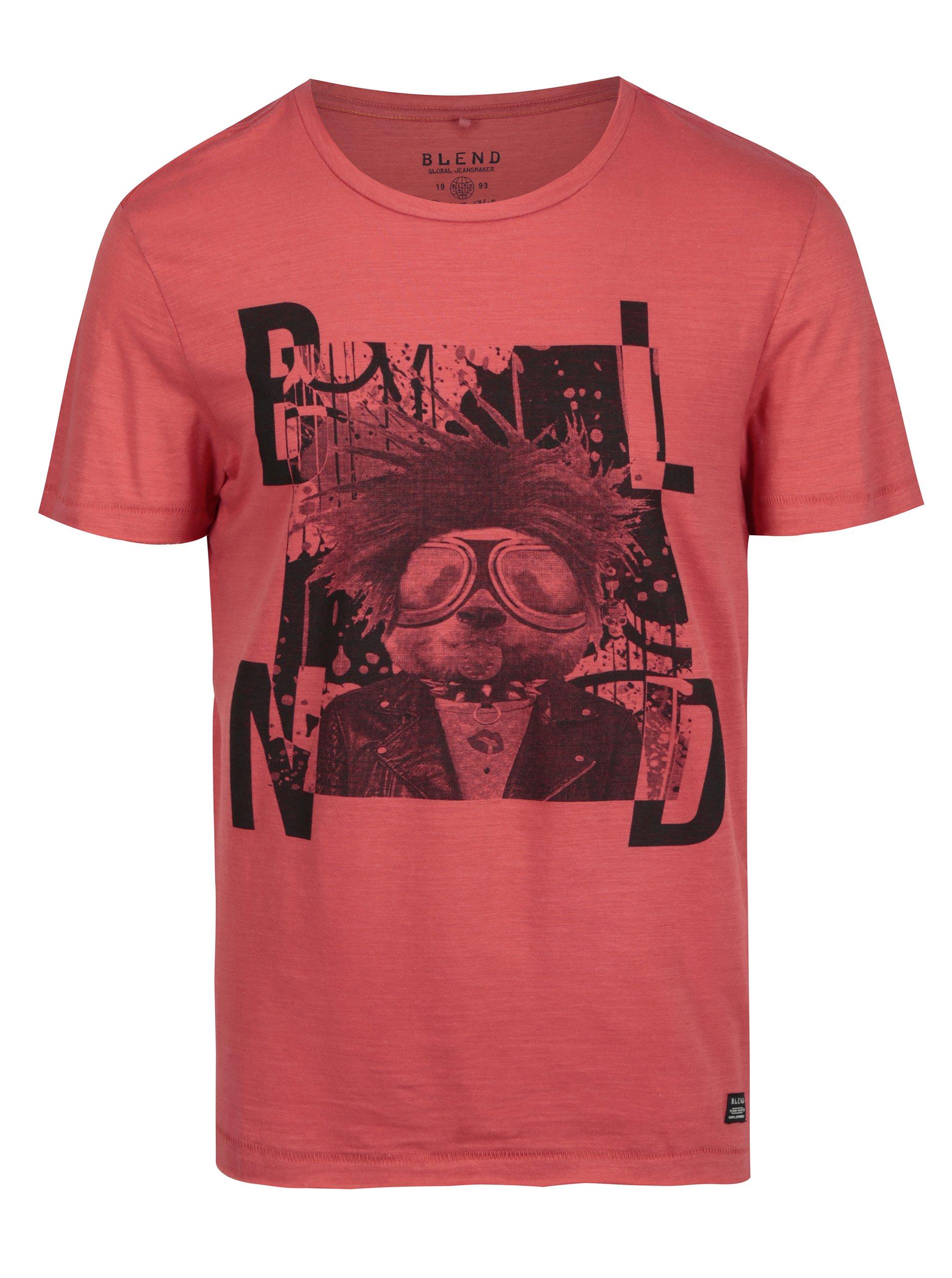 Červené slim fit tričko s punkovým potiskem  Blend
