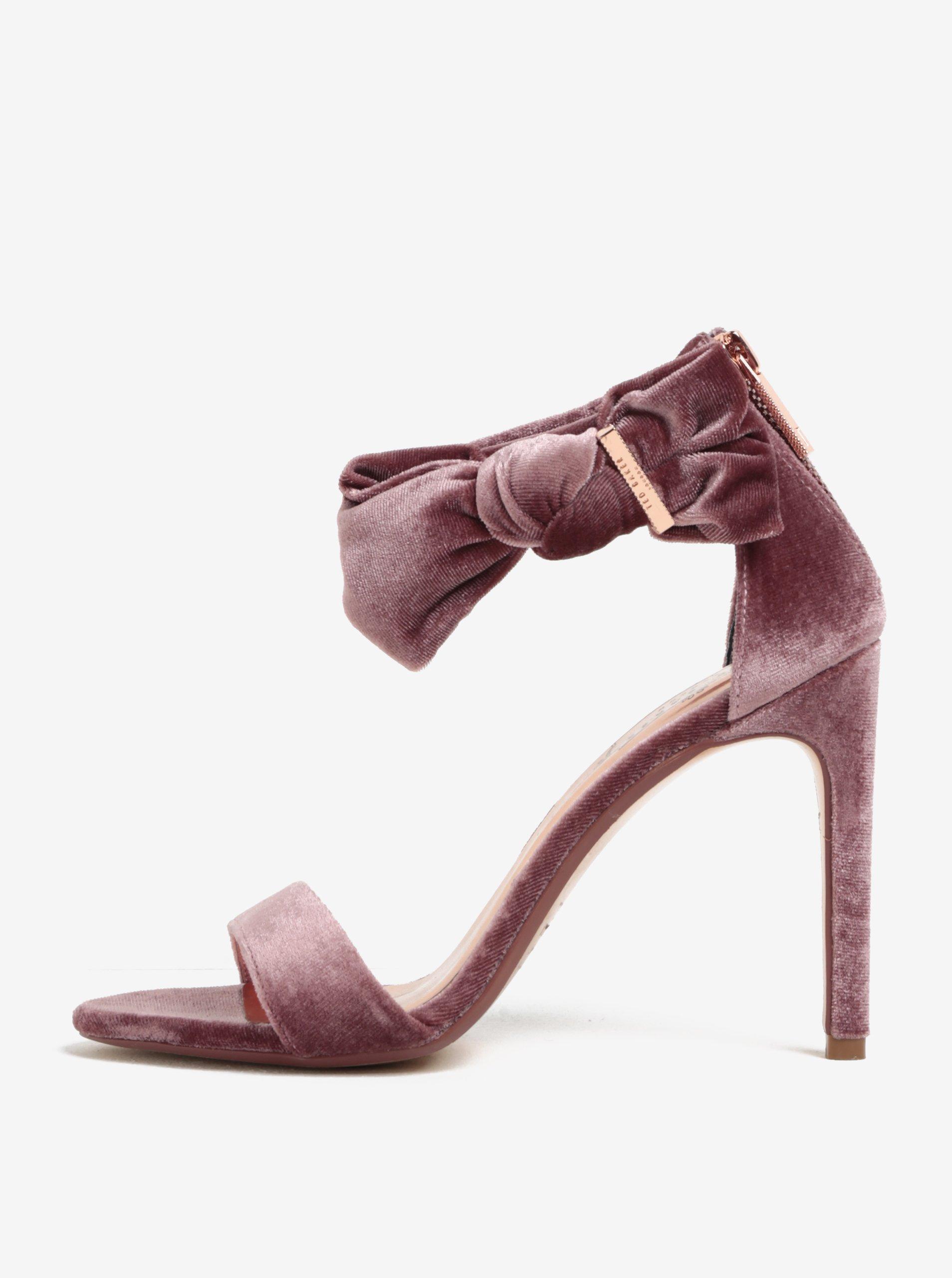 Růžové sametové sandály na podpatku s mašlí Ted Baker Torabel