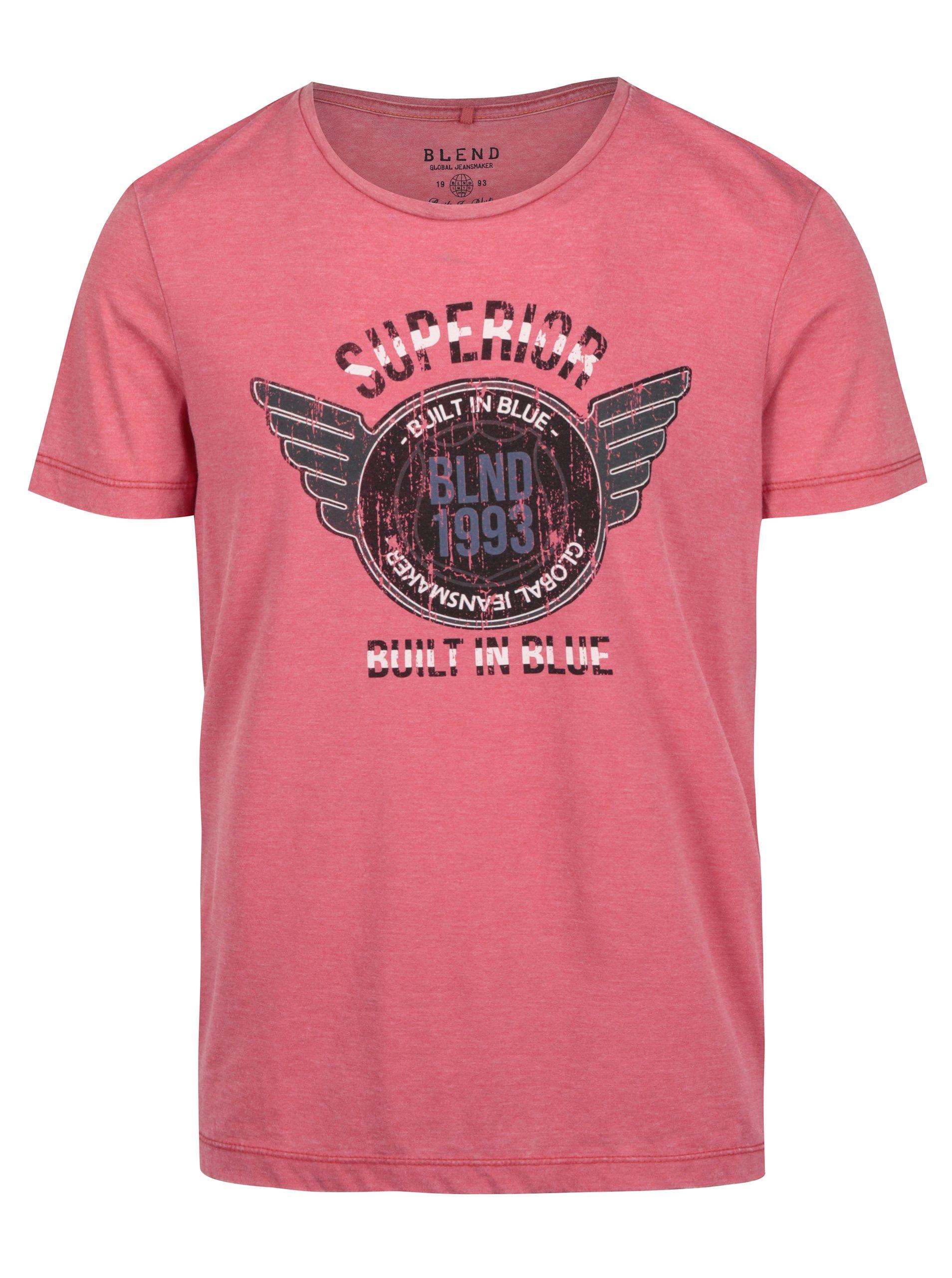 Růžové pánské žíhané slim fit tričko s potiskem Blend