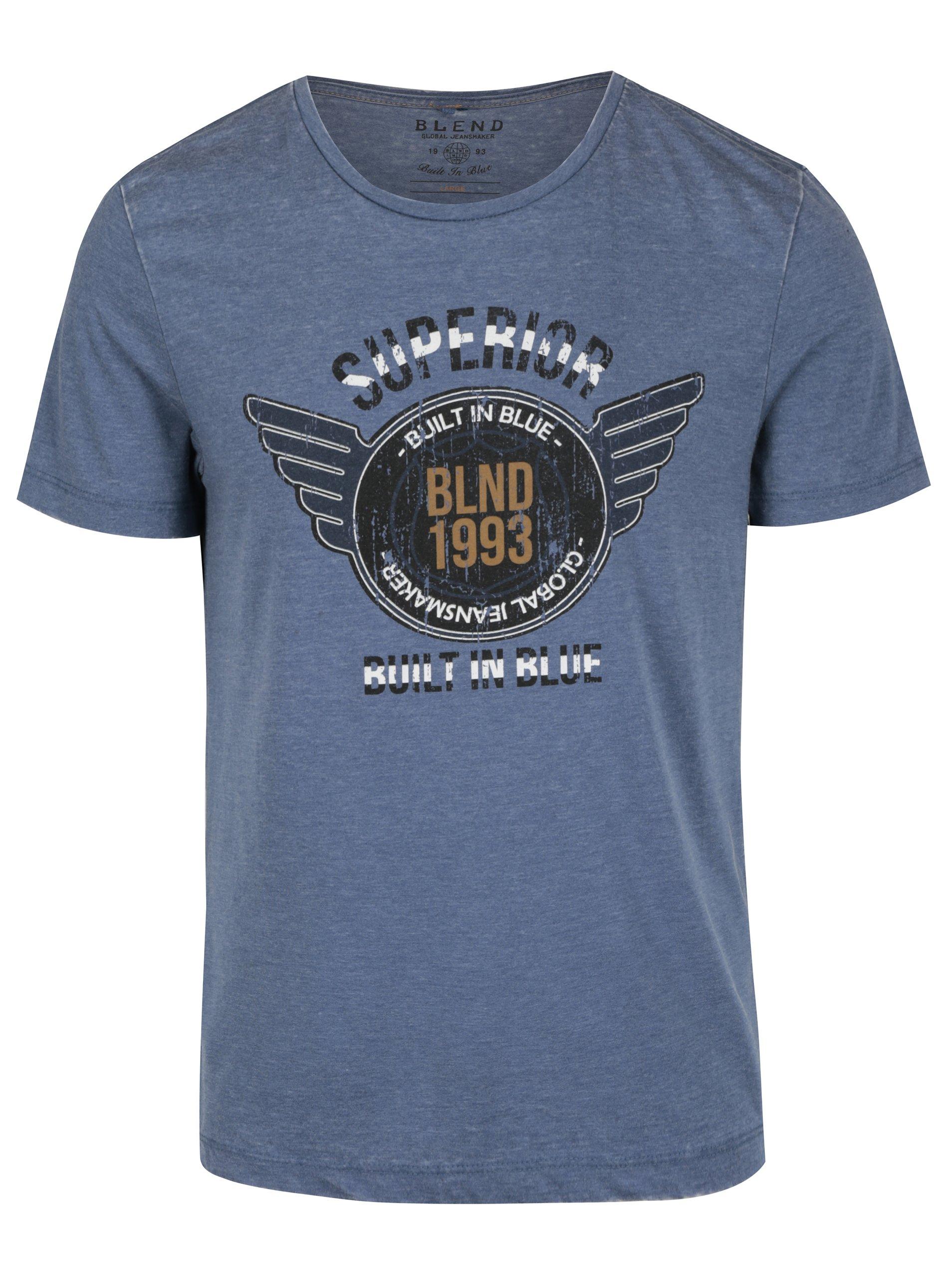 Modré pánské žíhané slim fit tričko s potiskem Blend