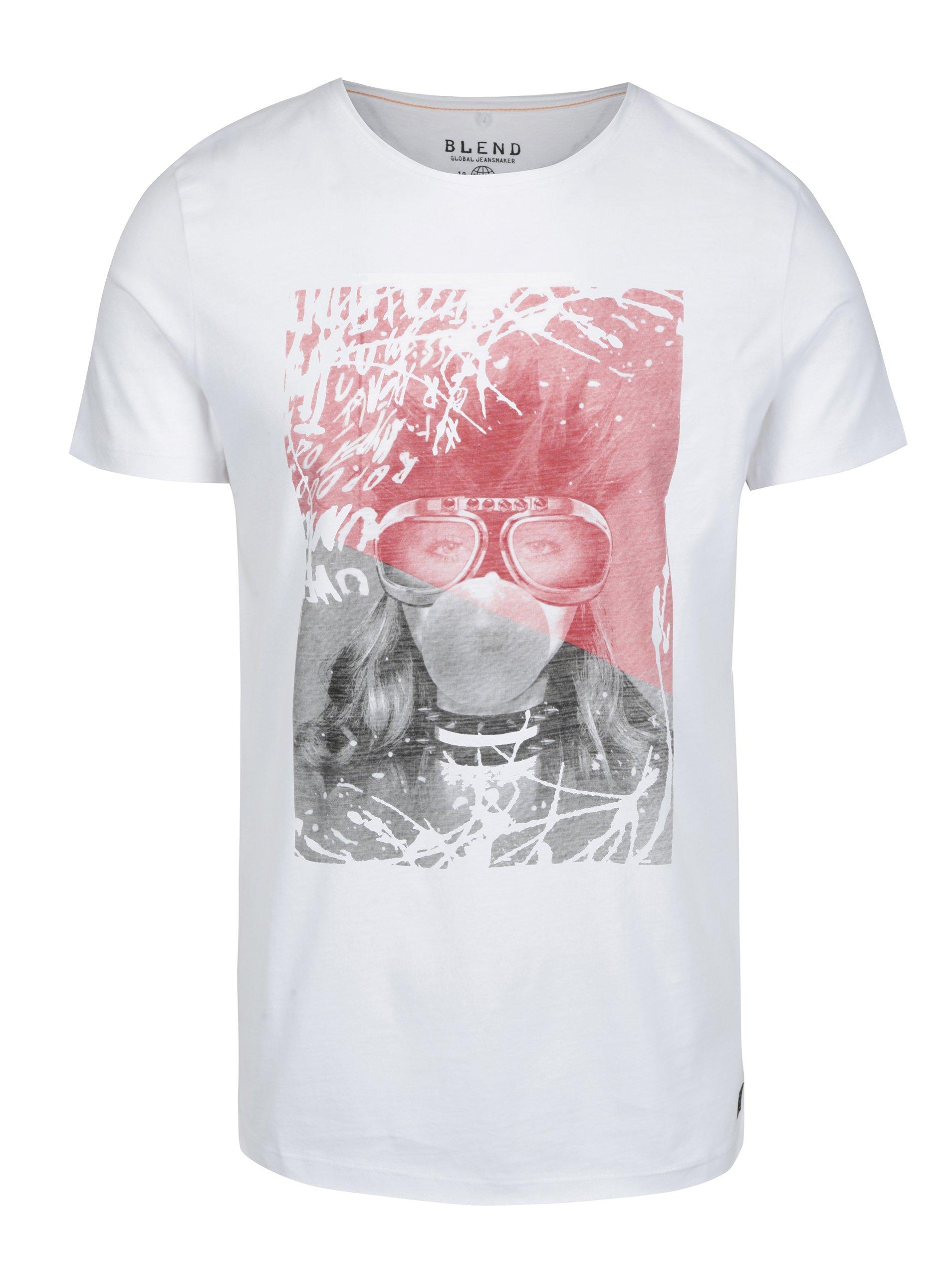 Bílé slim fit tričko s punkovým potiskem Blend