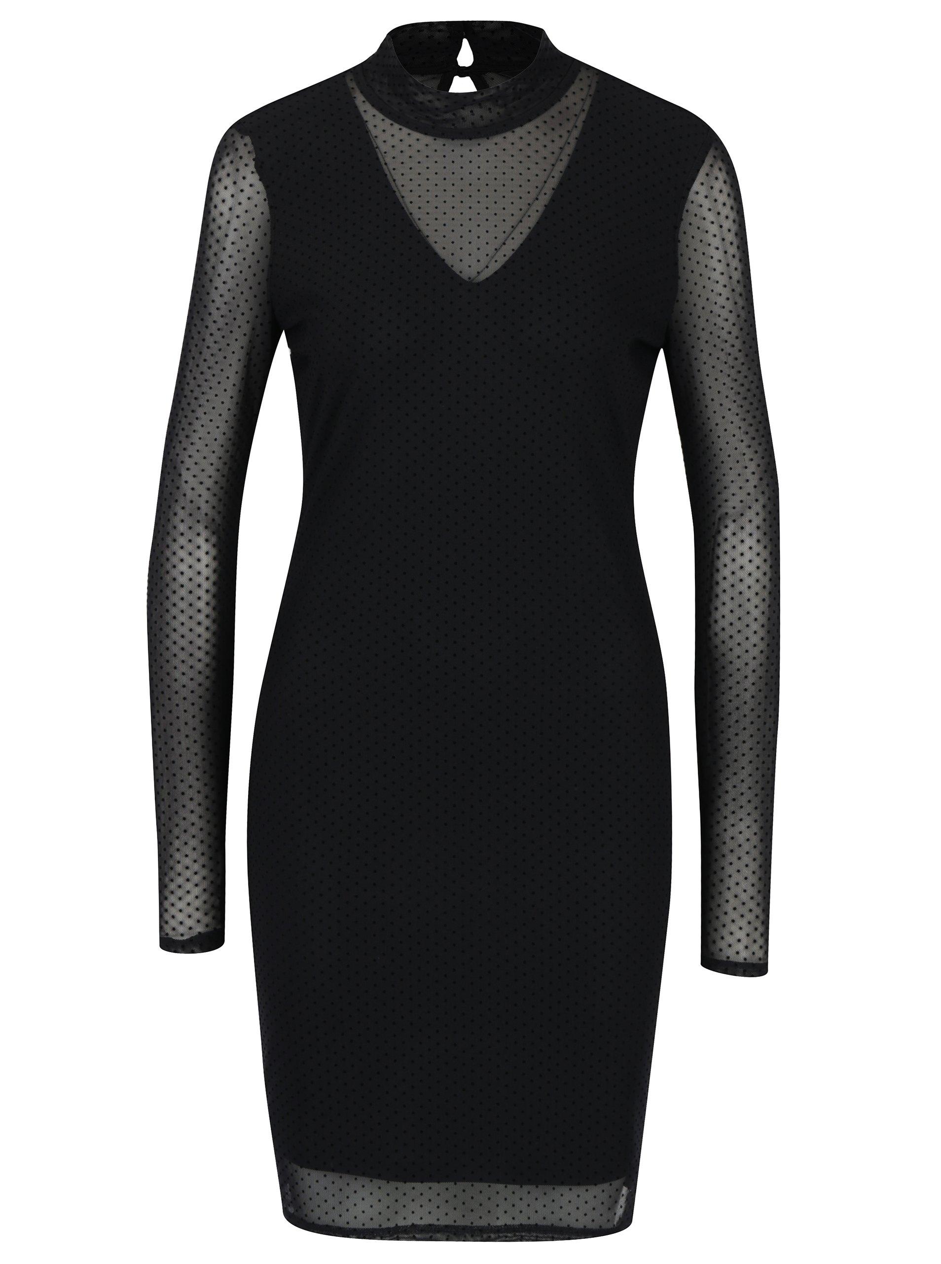 Černé puntíkované šaty s dlouhým rukávem VERO MODA Kira