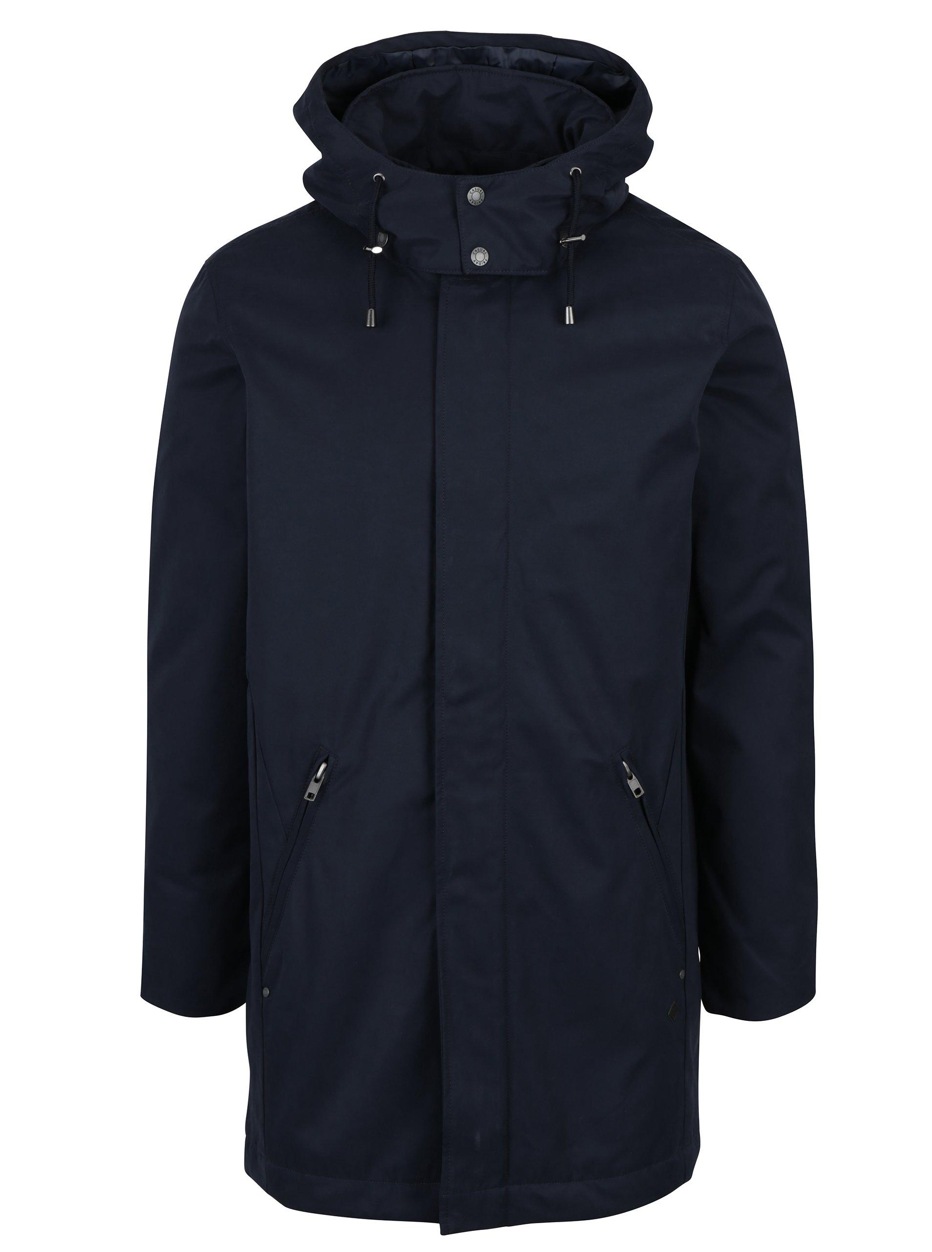 Tmavě modrá delší bunda s odnímatelnou kapucí Casual Friday by Blend