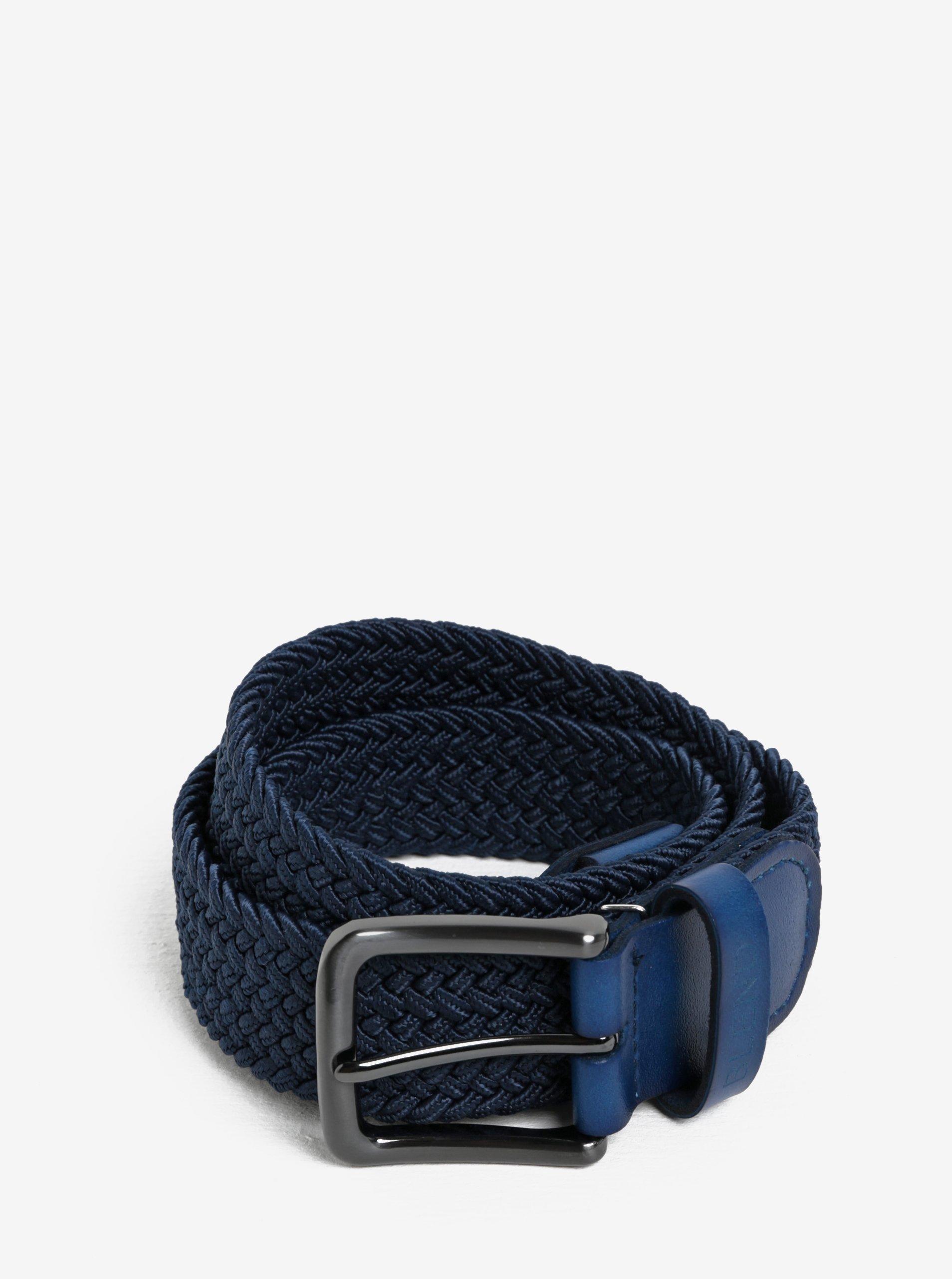 Tmavě modrý pásek s koženými detaily Blend