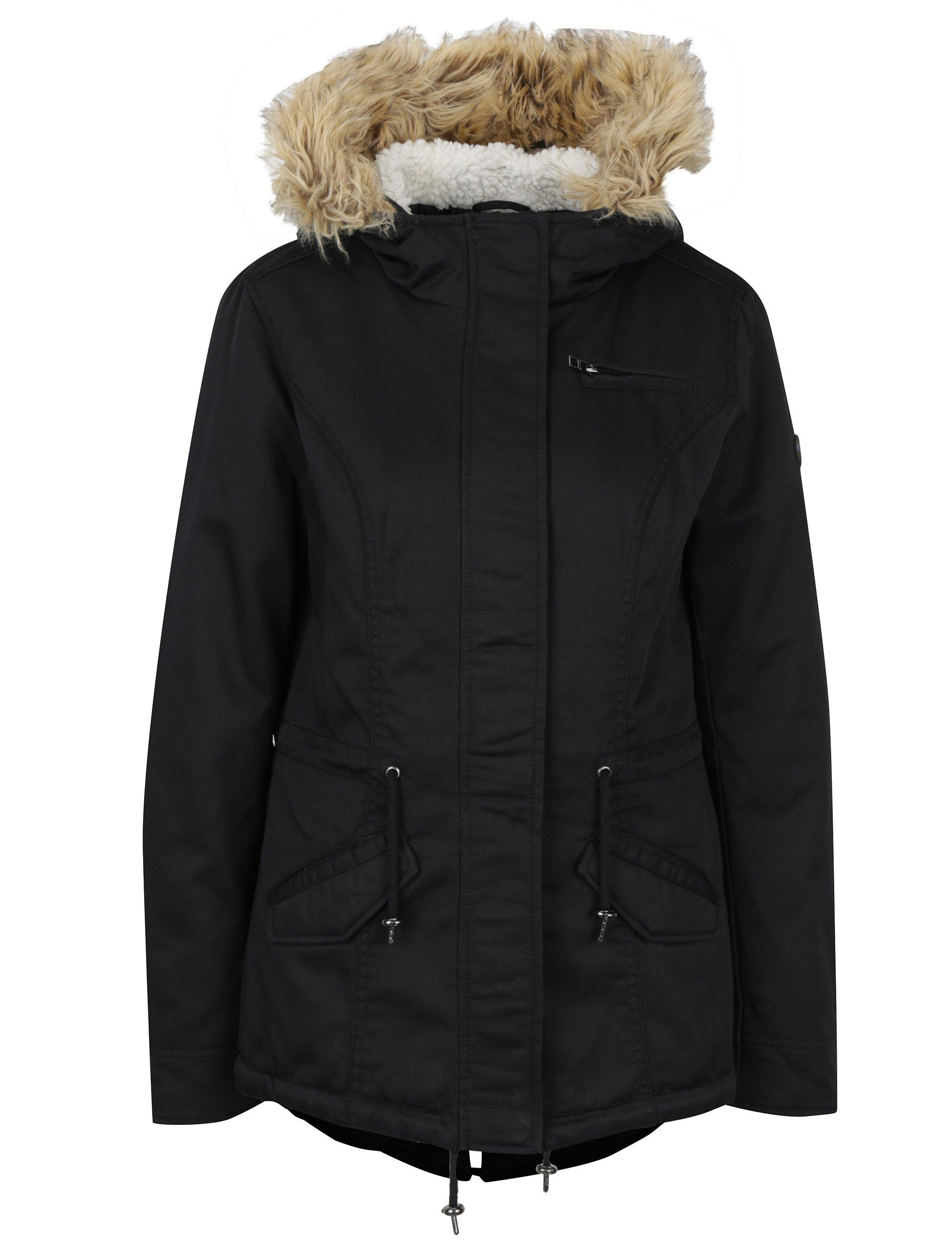Černá parka s kapucí ONLY New Lorca
