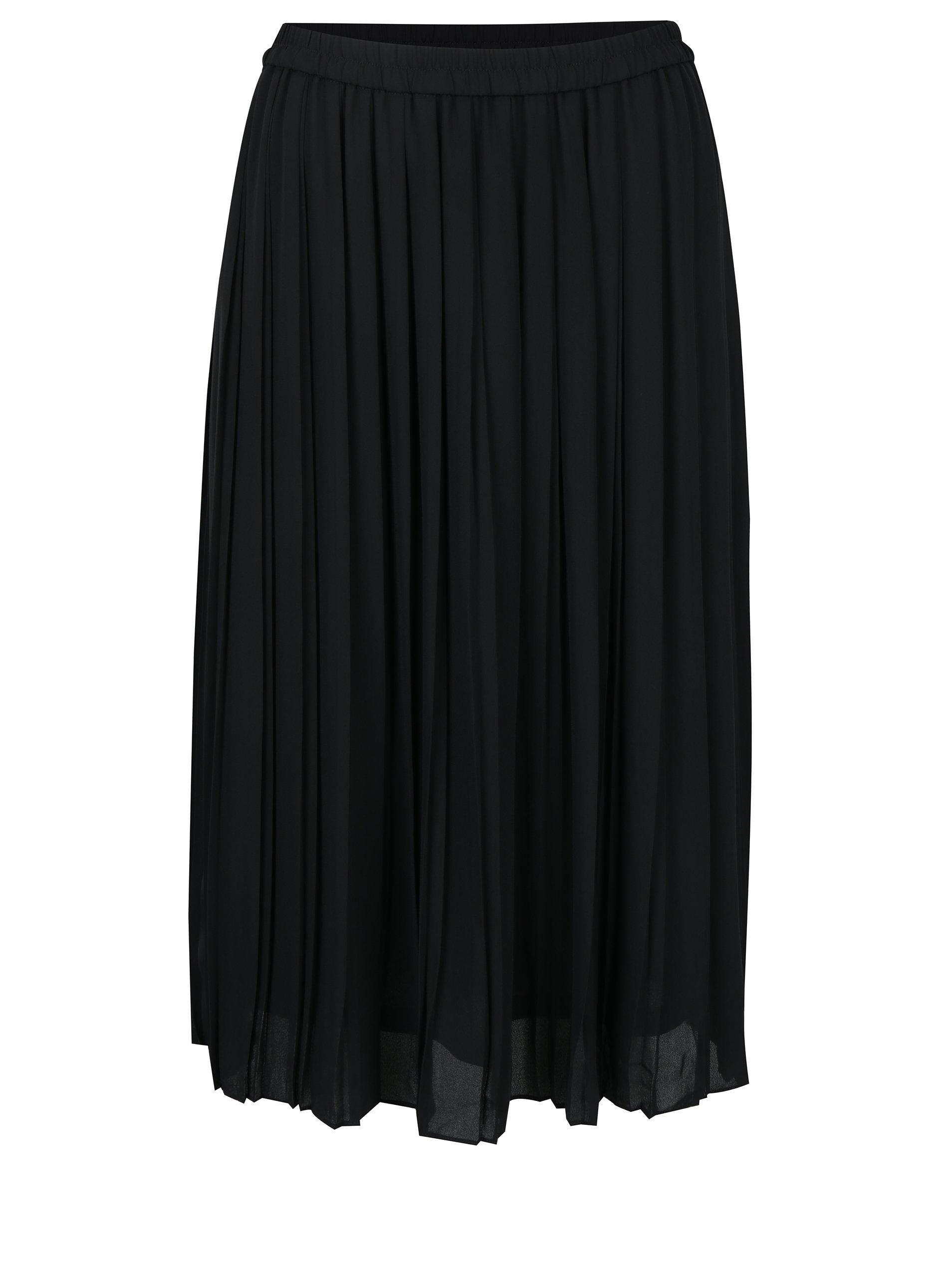 Černá plisovaná midi sukně VERO MODA Swing