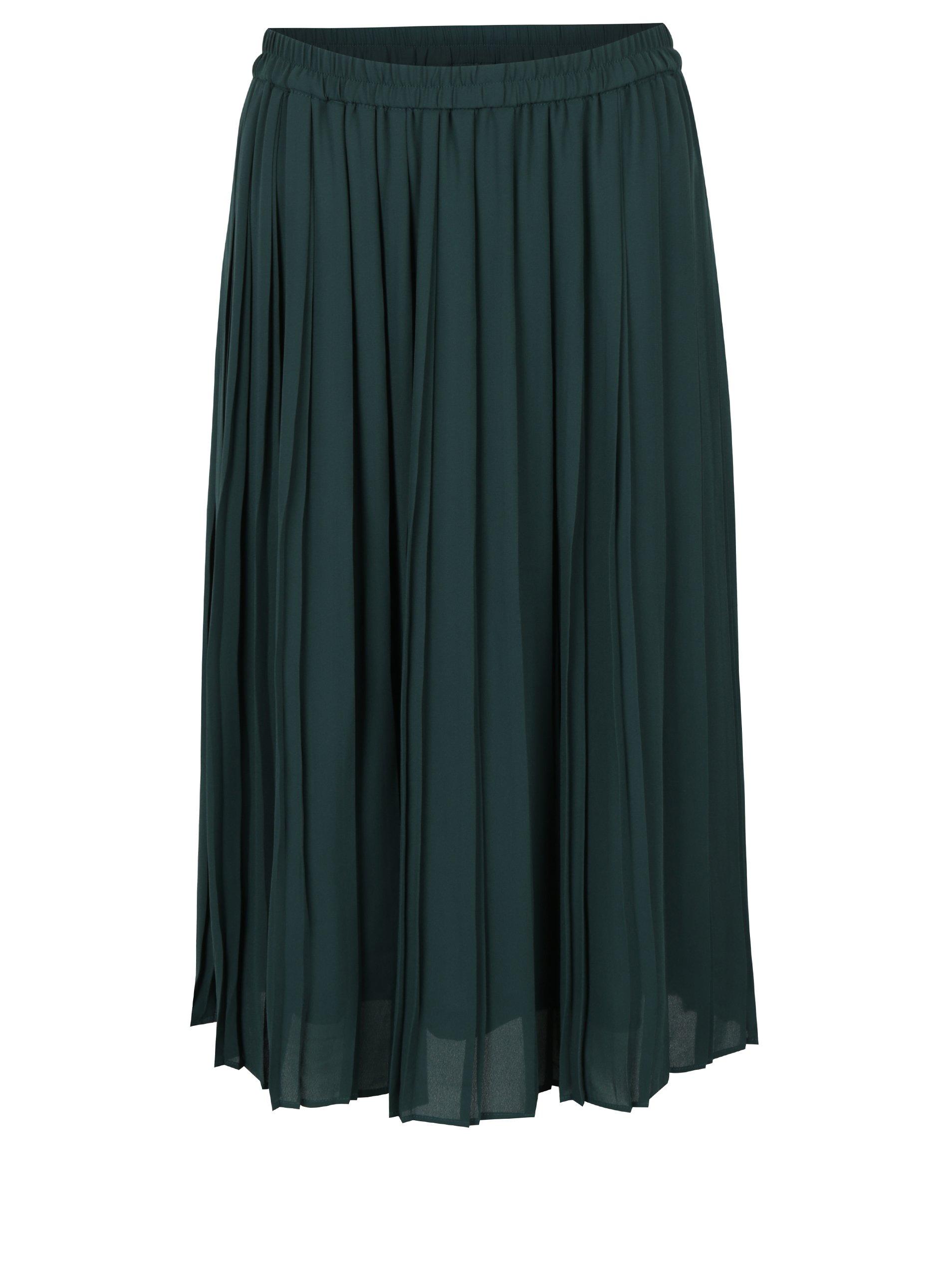 Tmavě zelená plisovaná midi sukně VERO MODA Swing