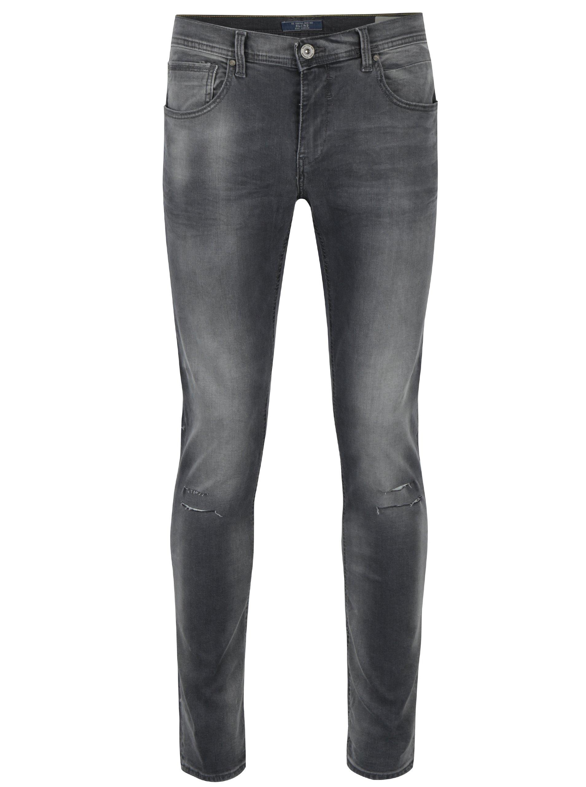 Šedé skinny džíny s potrhaným efektem Blend